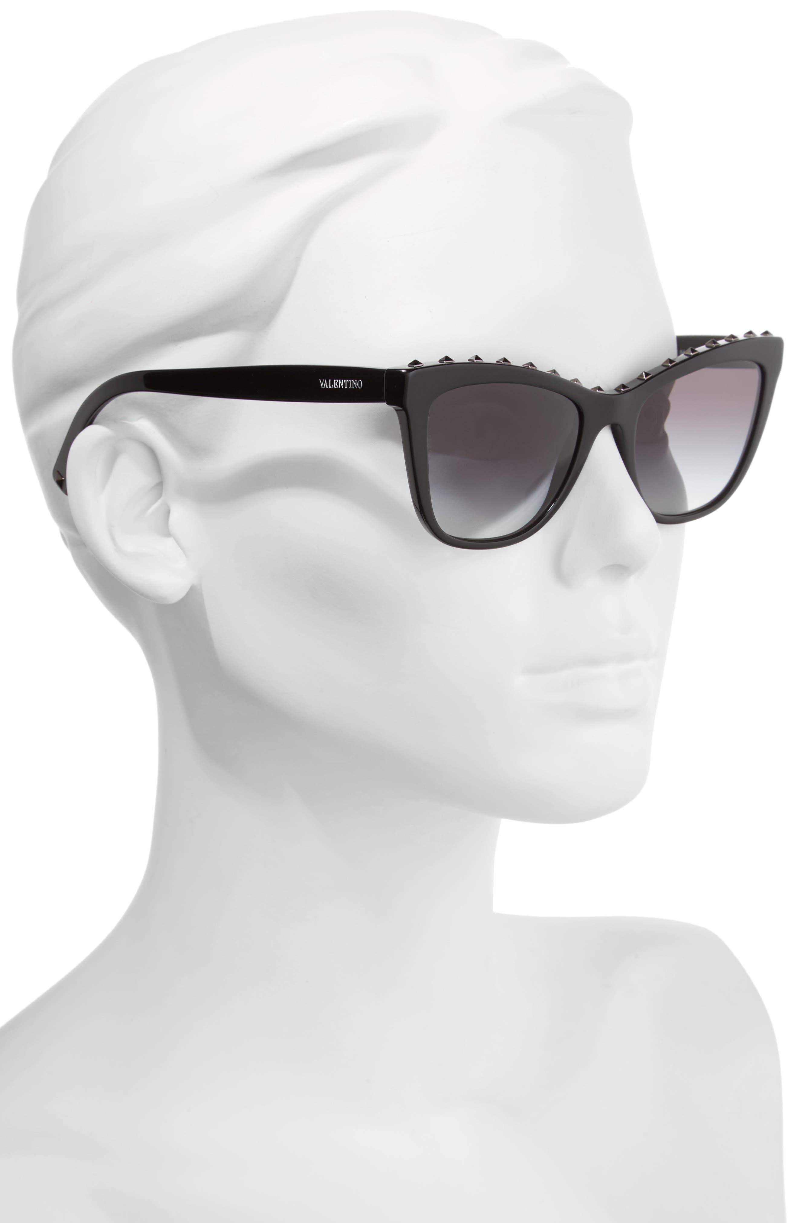 Rockstud 54mm Cat Eye Sunglasses,                             Alternate thumbnail 2, color,                             001
