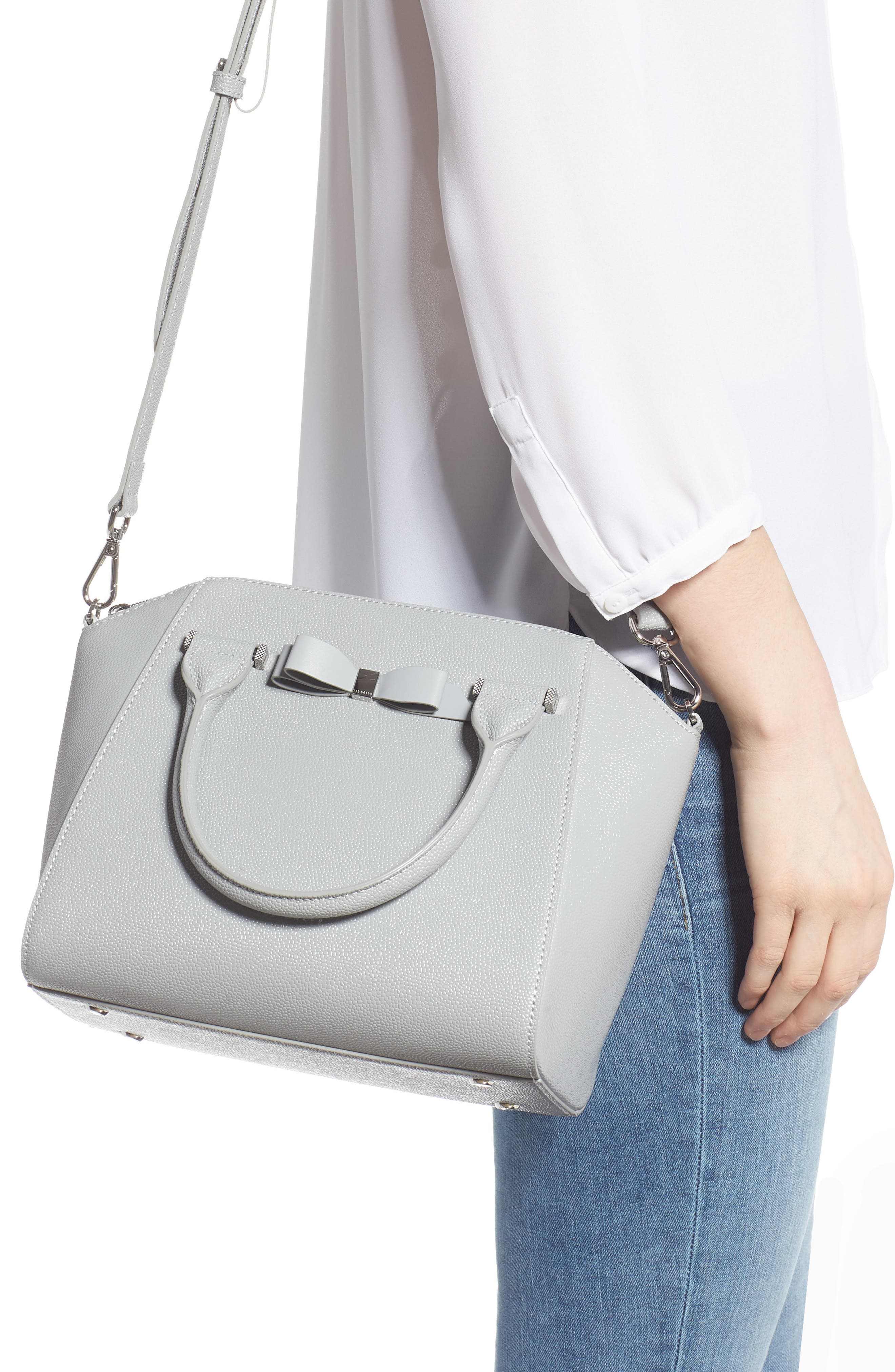 TED BAKER LONDON,                             Janne Bow Leather Tote,                             Alternate thumbnail 2, color,                             GREY