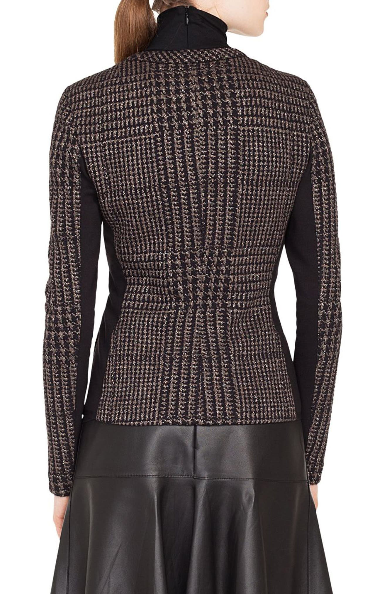 Metallic Houndstooth Jacquard Jacket,                             Alternate thumbnail 2, color,                             BLACK/ TAUPE