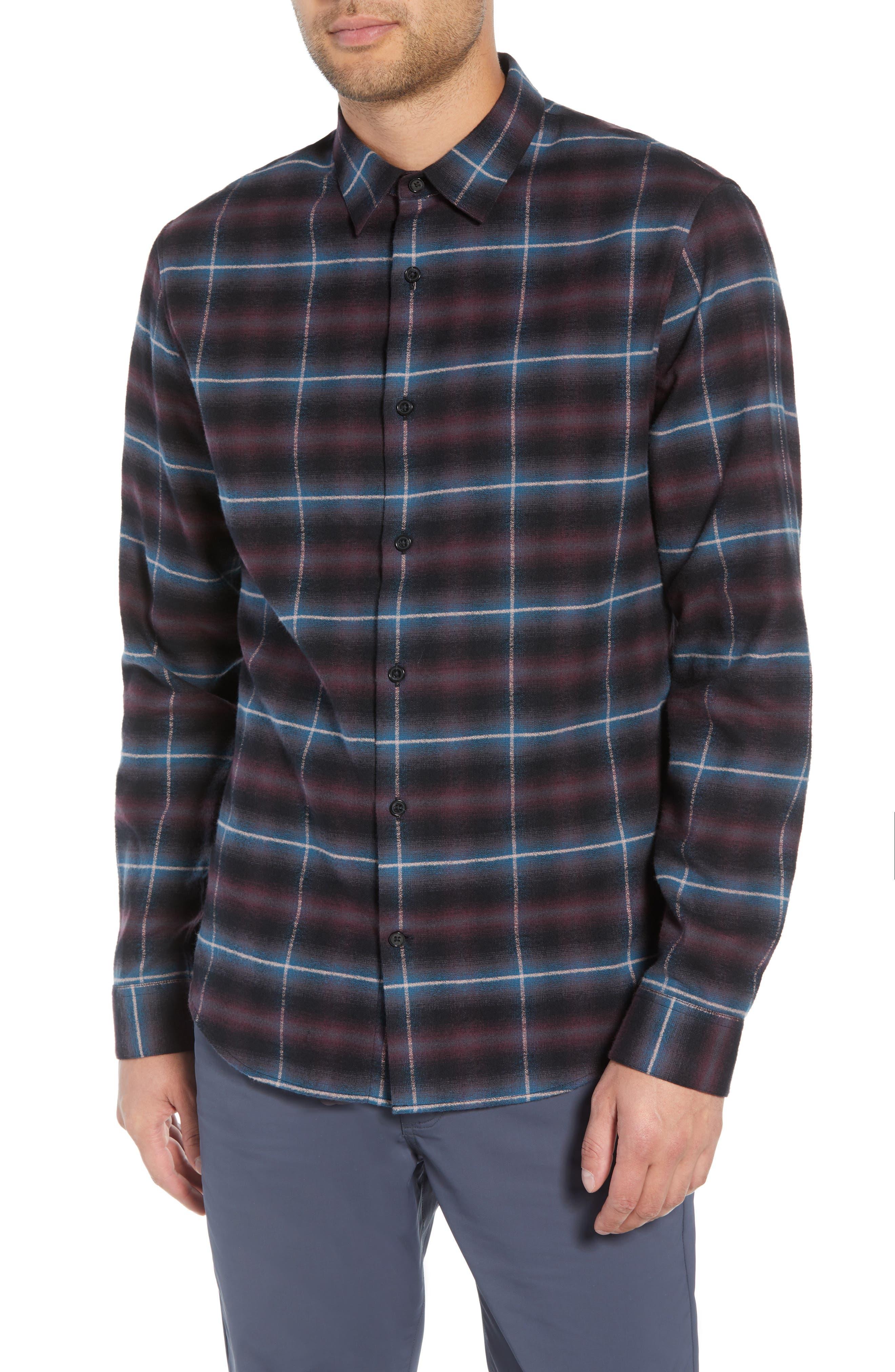 Slim Fit Shadow Plaid Grid Sport Shirt,                         Main,                         color, MULBERRY