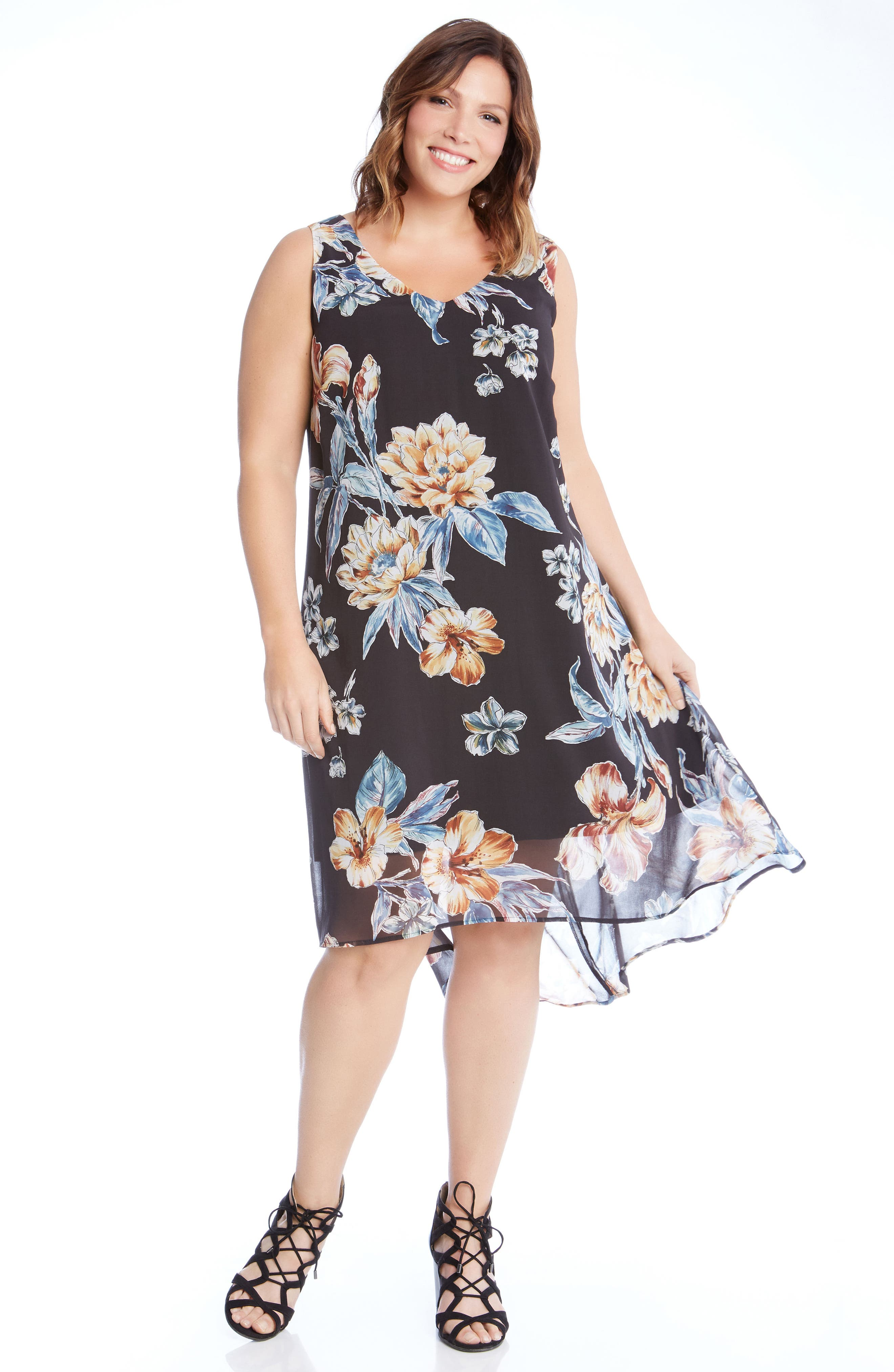 High/Low Sleeveless Dress,                             Alternate thumbnail 4, color,