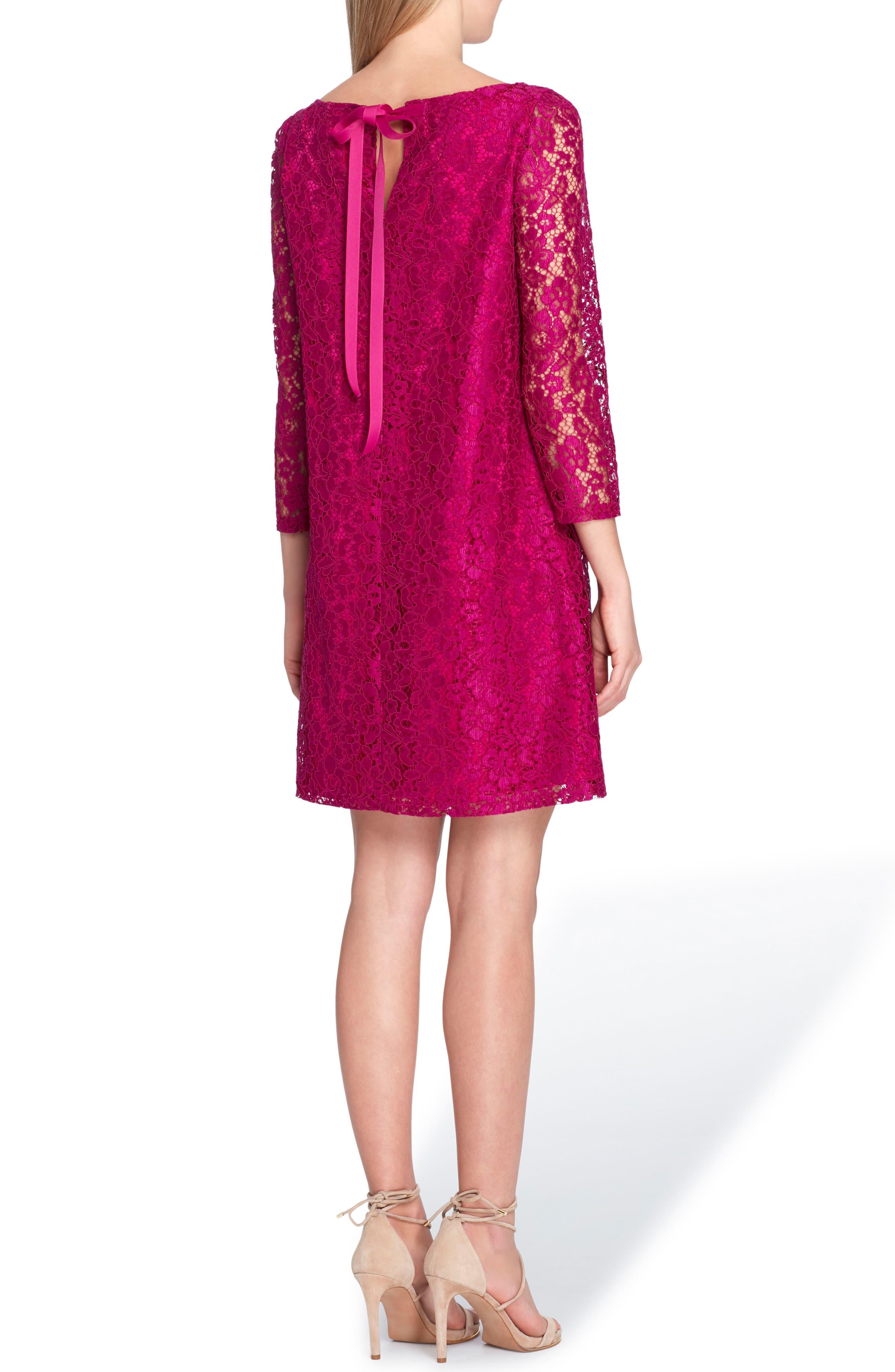 Lace Shift Dress,                             Alternate thumbnail 2, color,                             FUCHSIA