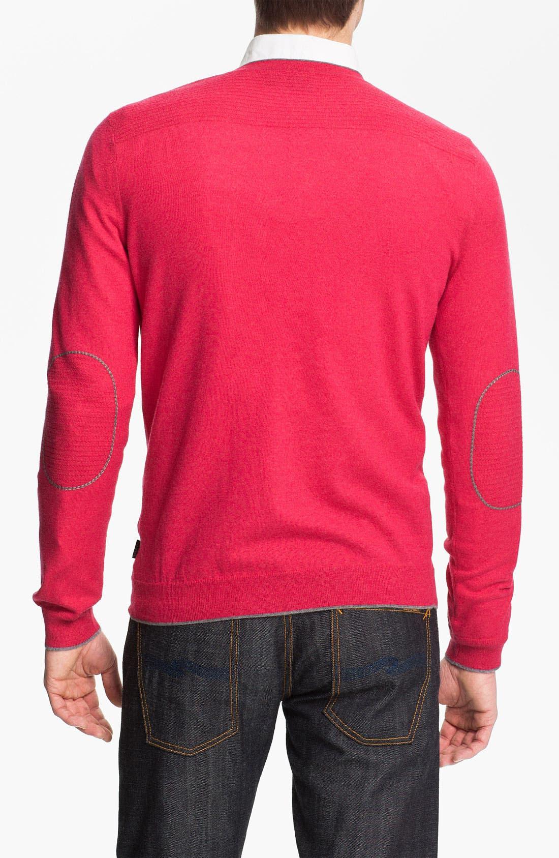 BOSS,                             Black 'Gary' V-Neck Wool Blend Sweater,                             Alternate thumbnail 2, color,                             667