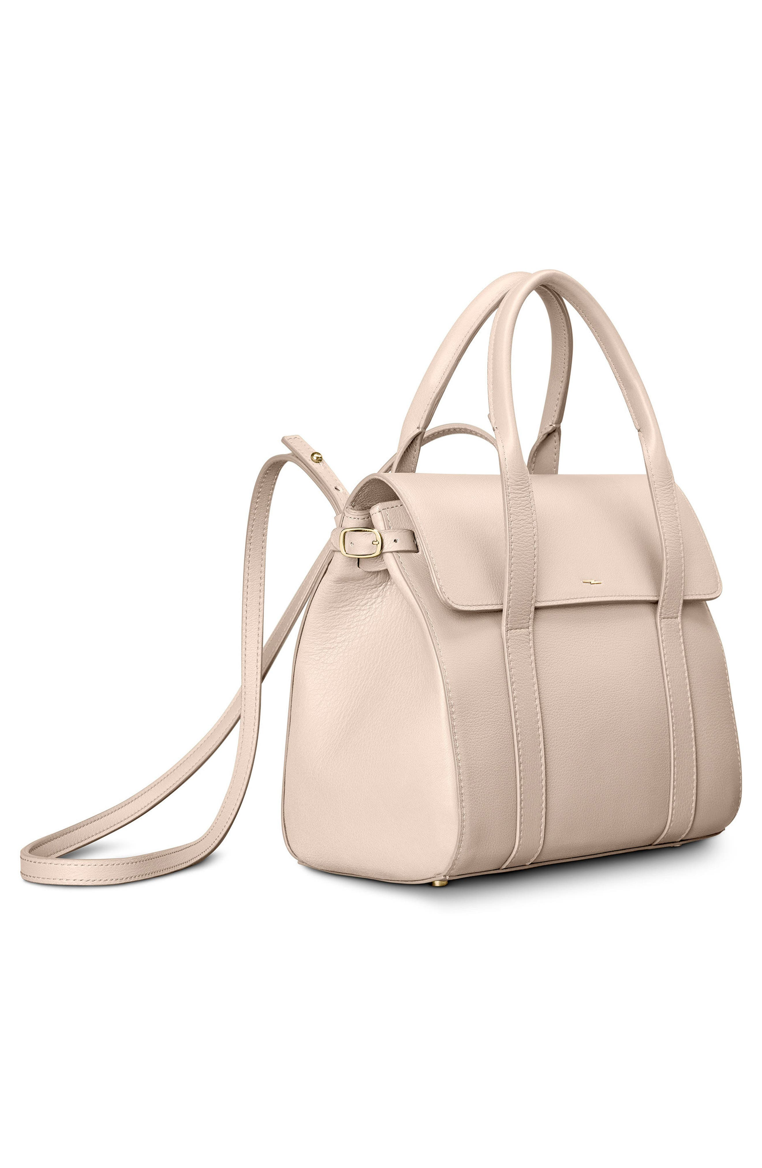 Small Grained Leather Satchel,                             Alternate thumbnail 5, color,                             SOFT BLUSH