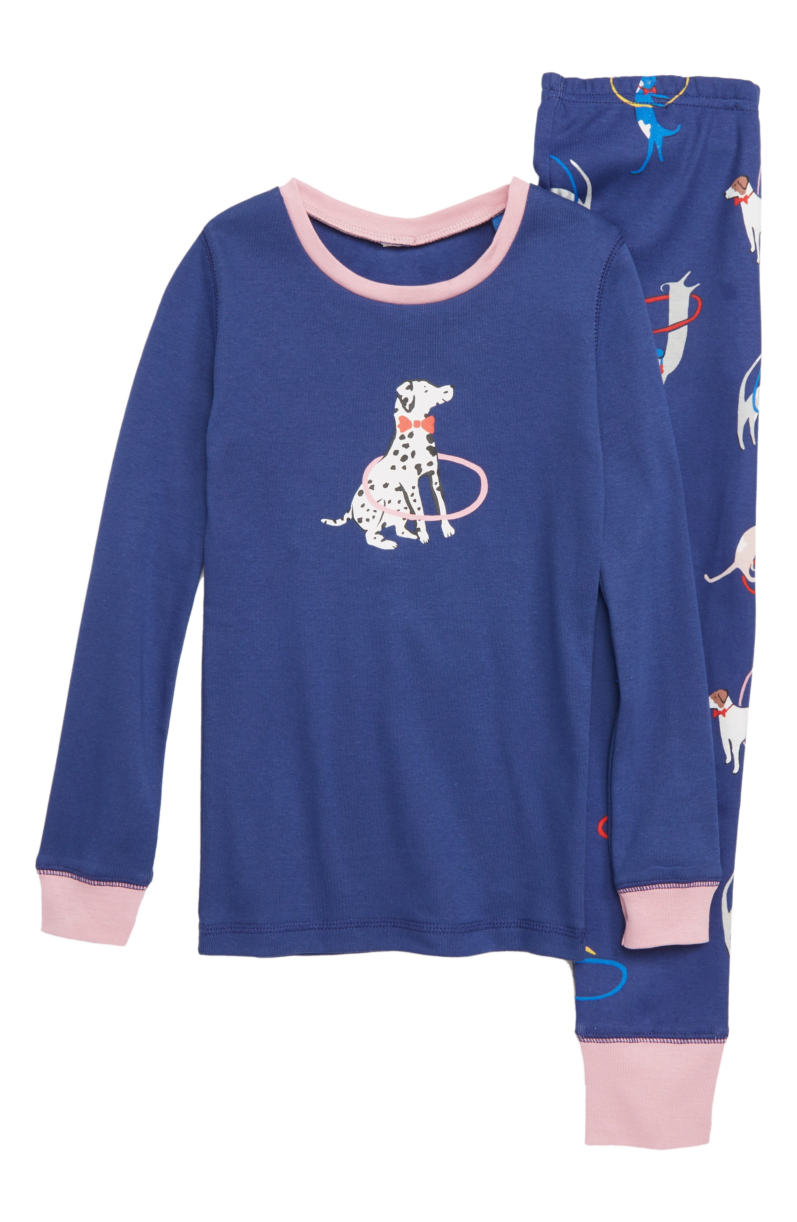 Fitted Cosy Long John Pajamas,                             Main thumbnail 1, color,                             NAVY STARBOARD BLUE
