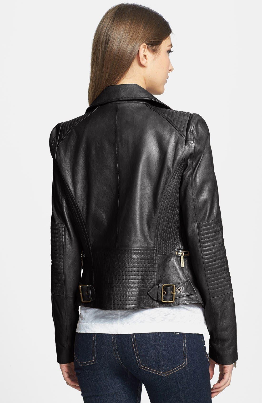 BCBGMAXAZRIA,                             'Tara' Leather Moto Jacket,                             Alternate thumbnail 2, color,                             001