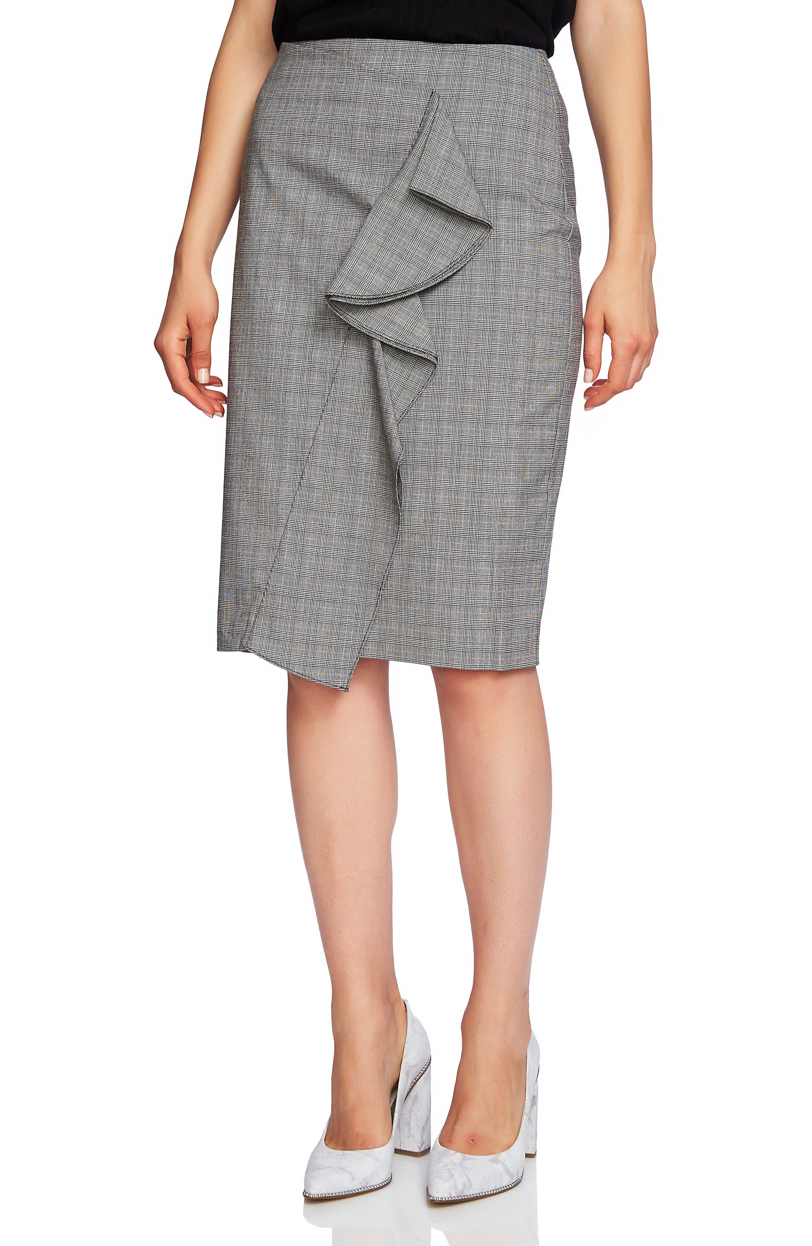 1.state Ruffle Glen Plaid Pencil Skirt