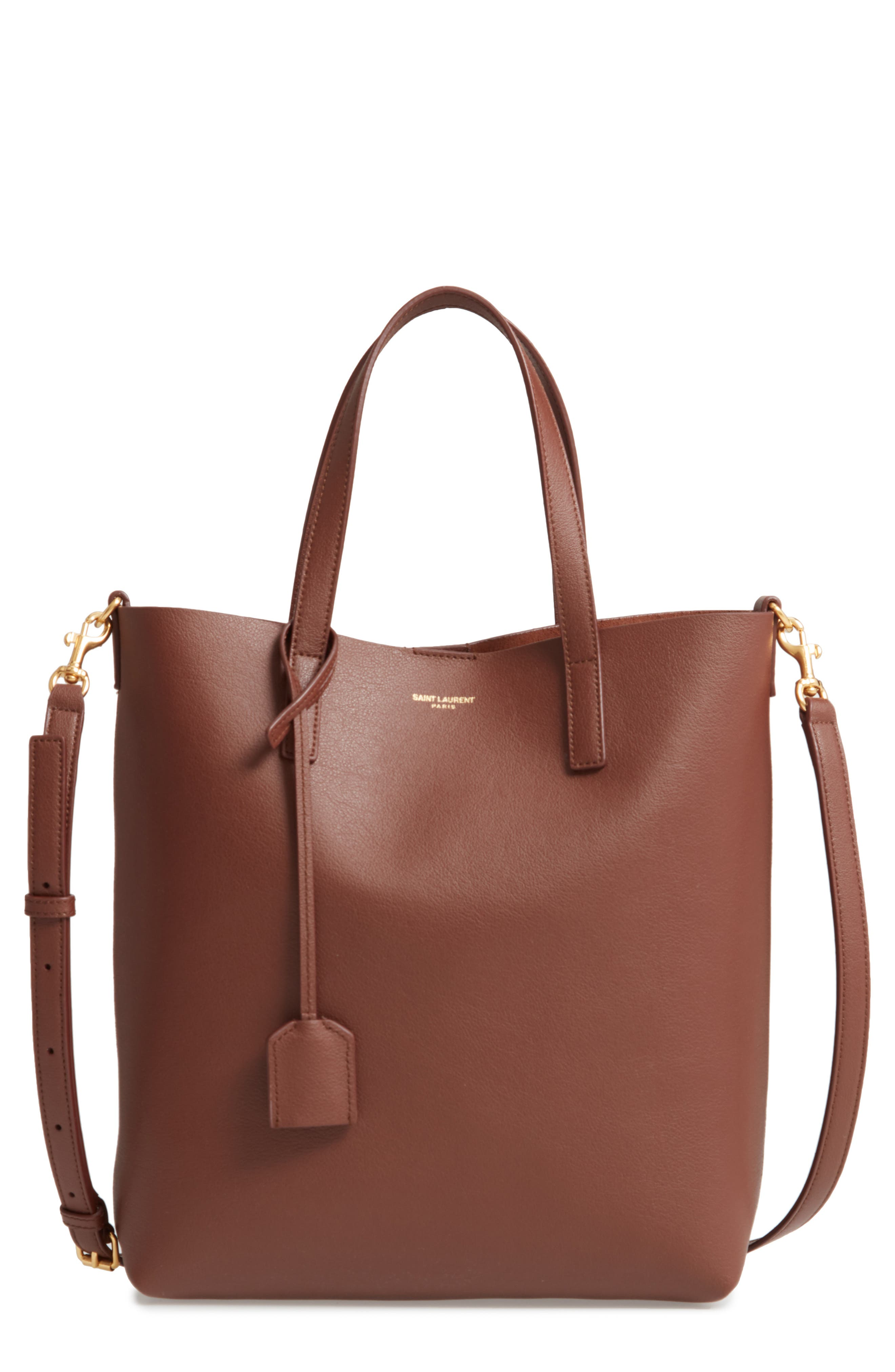 SAINT LAURENT Toy Shopping Leather Tote, Main, color, BRANDY OLD