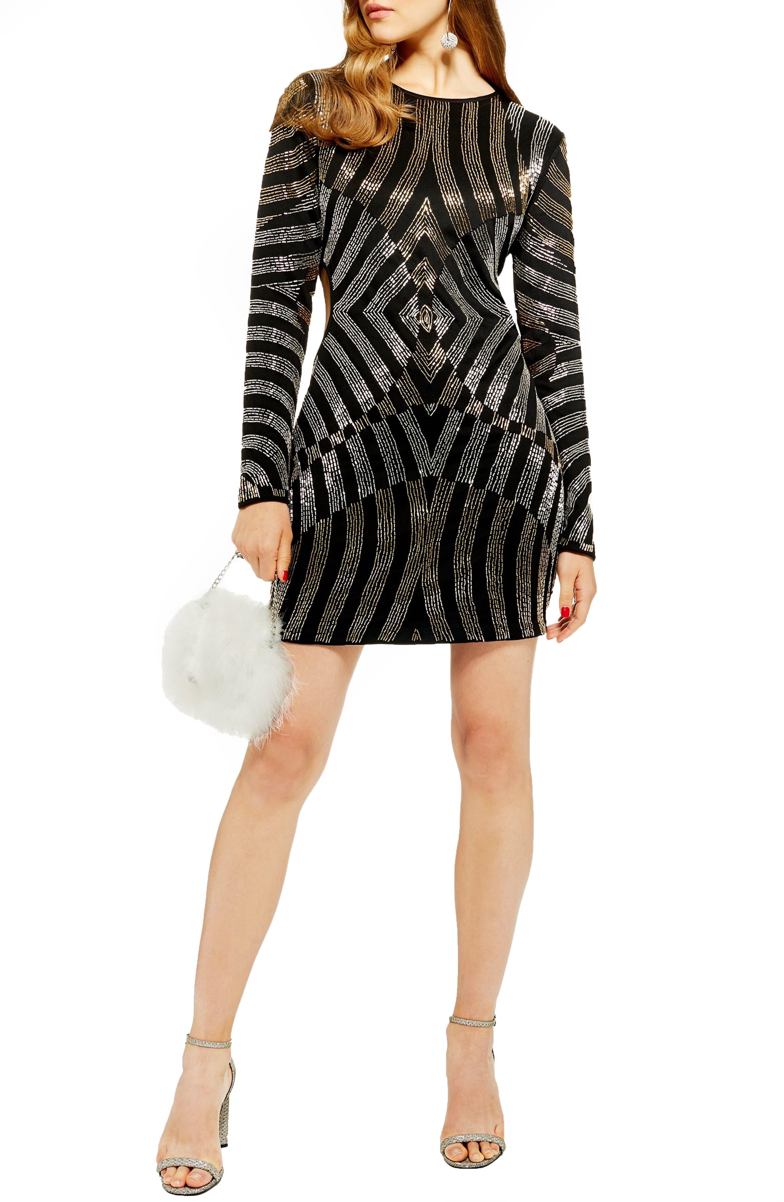 Topshop Bugle Bead Cutout Body-Con Dress, US (fits like 0) - Black