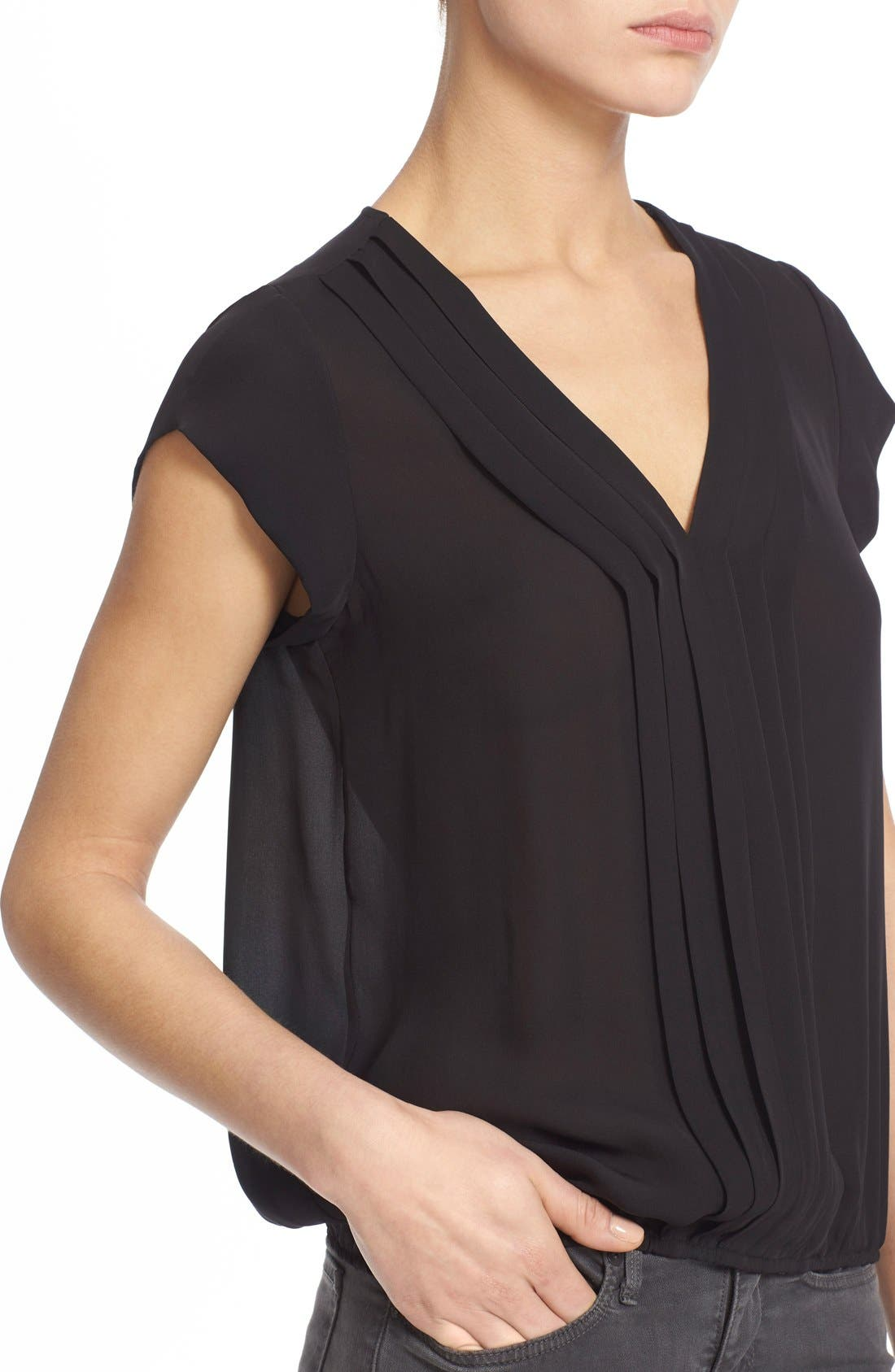 'Marcher' Pleated Silk Top,                             Alternate thumbnail 5, color,                             002