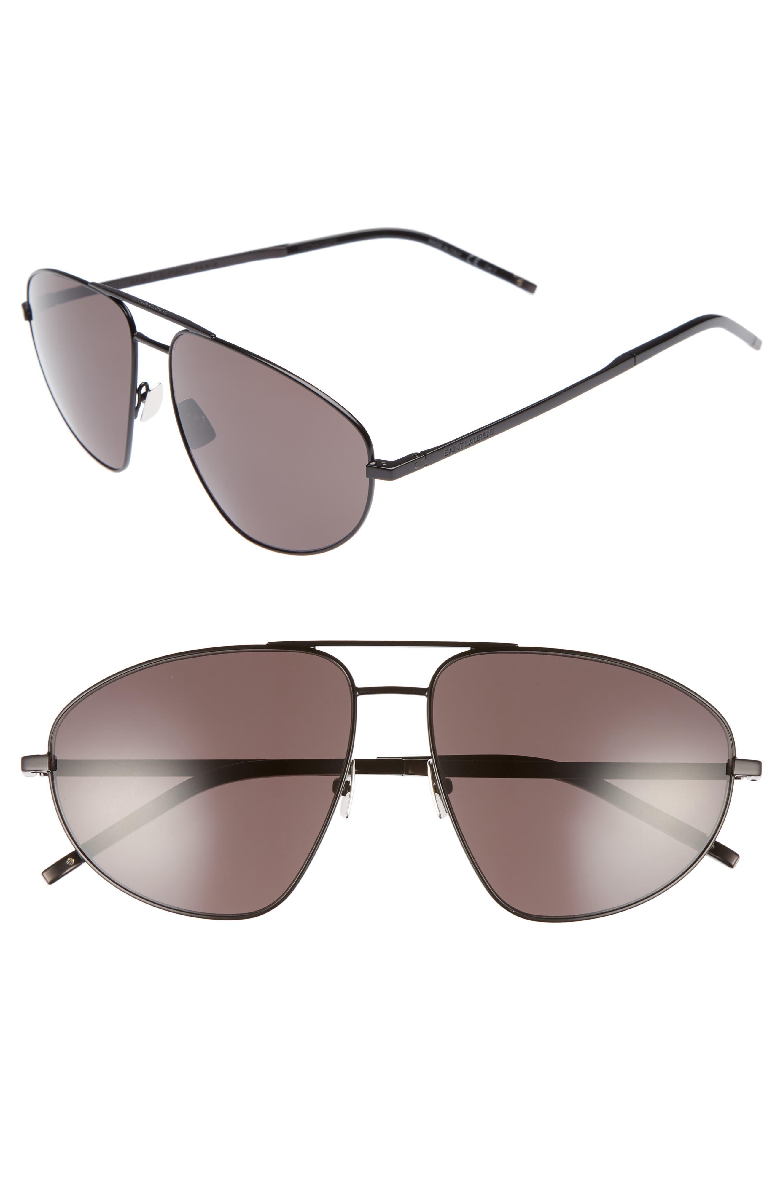 SL 211 60mm Aviator Sunglasses,                             Main thumbnail 1, color,                             BLACK