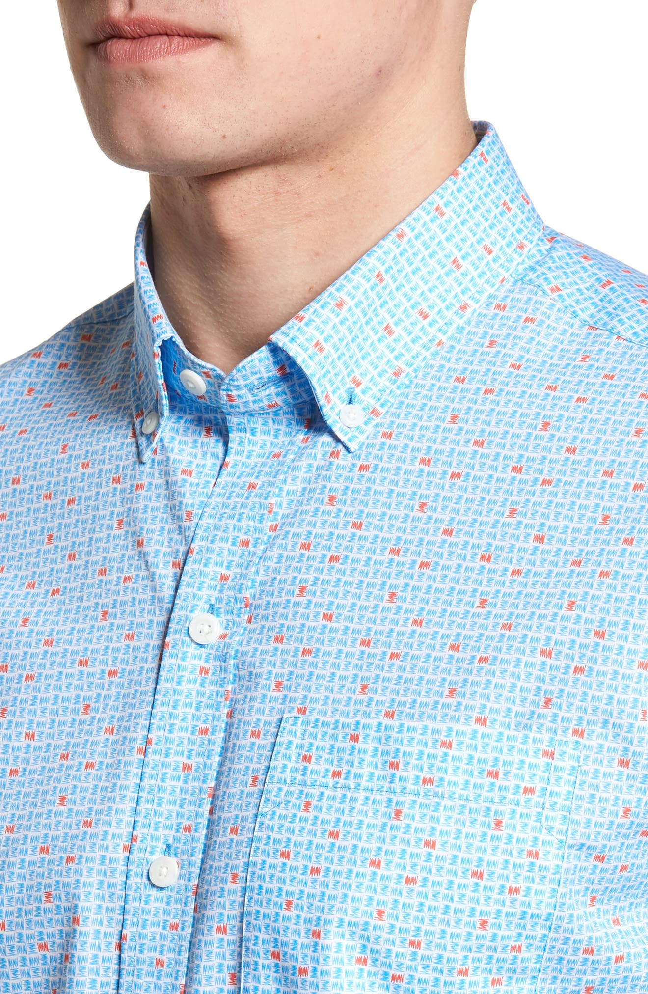 Kaleb Classic Fit Scribble Print Sport Shirt,                             Alternate thumbnail 4, color,                             425
