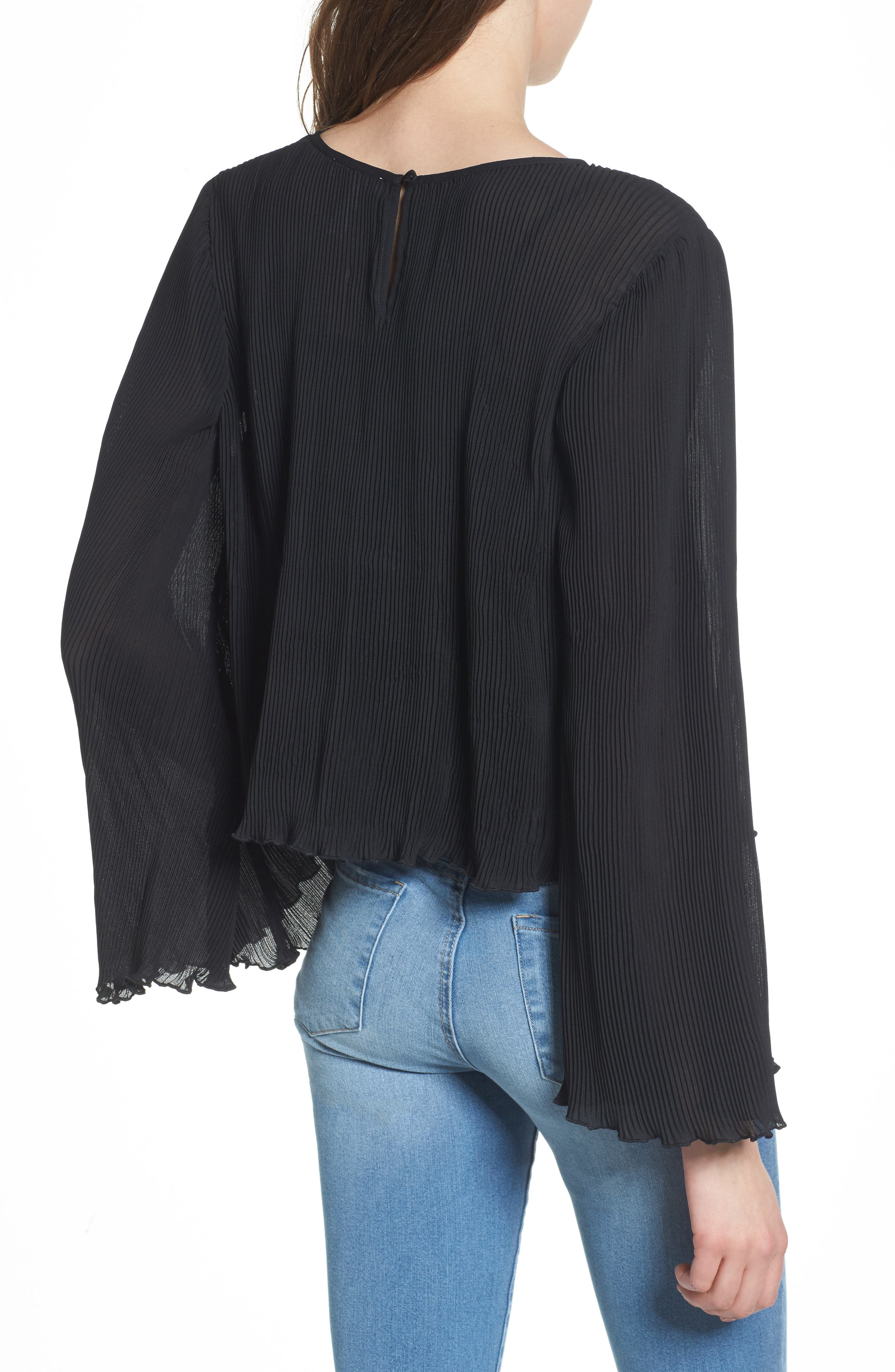 Pleated Bell Sleeve Top,                             Alternate thumbnail 2, color,                             001