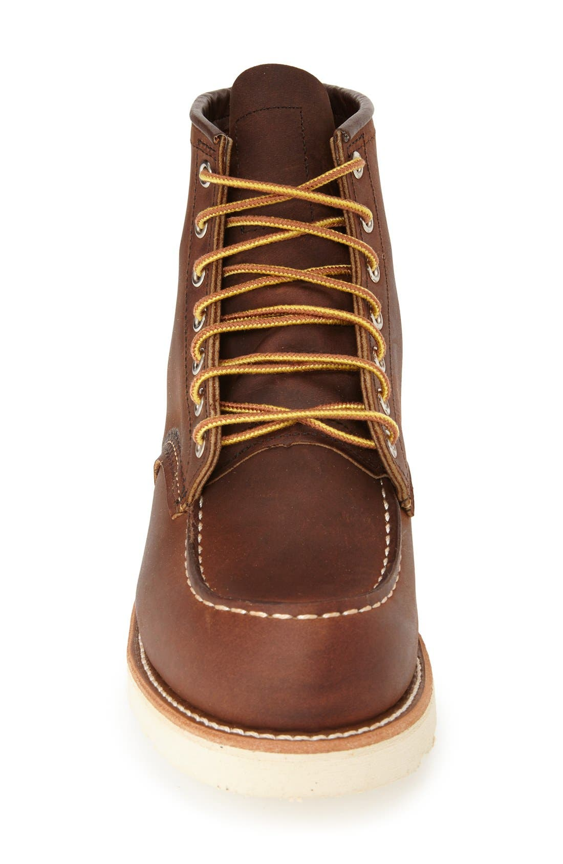RED WING,                             6 Inch Moc Toe Boot,                             Alternate thumbnail 3, color,                             BOURBON YUMA LEATHER