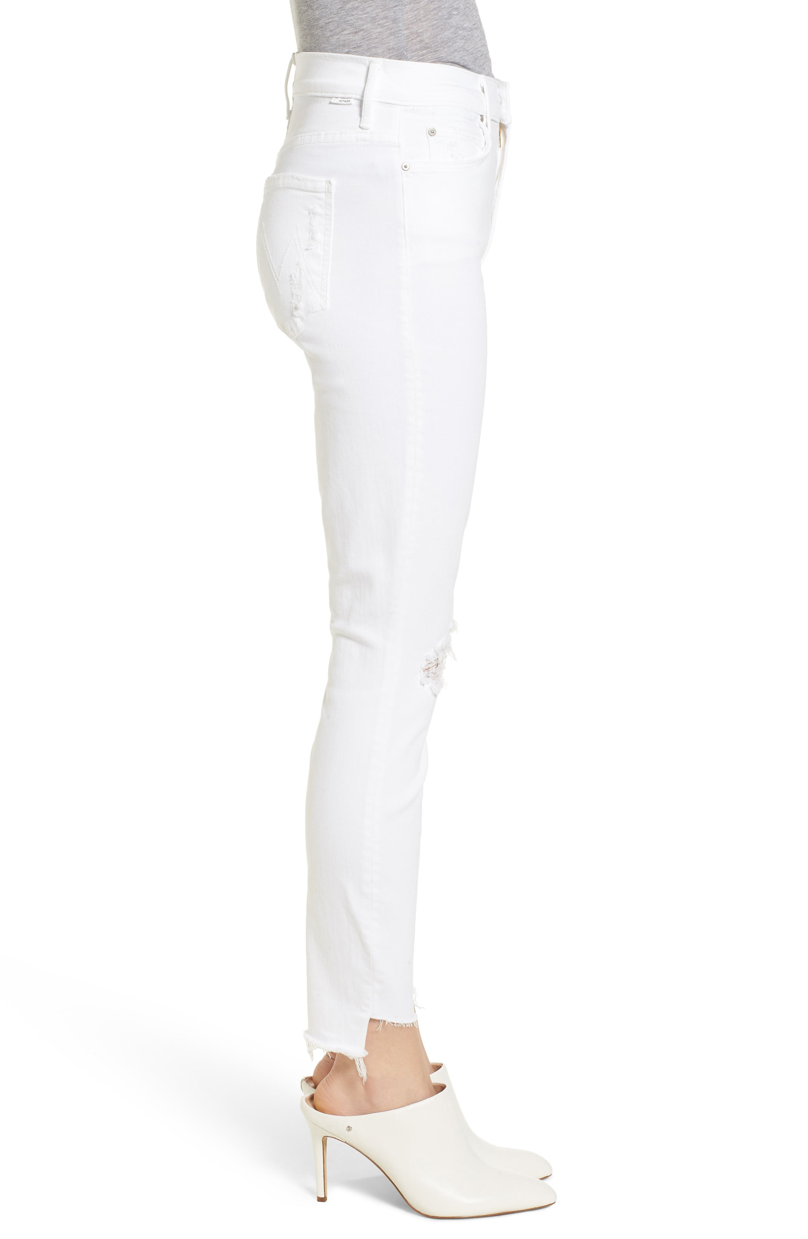 The Stunner High Waist Fray Ankle Skinny Jeans,                             Alternate thumbnail 3, color,                             111