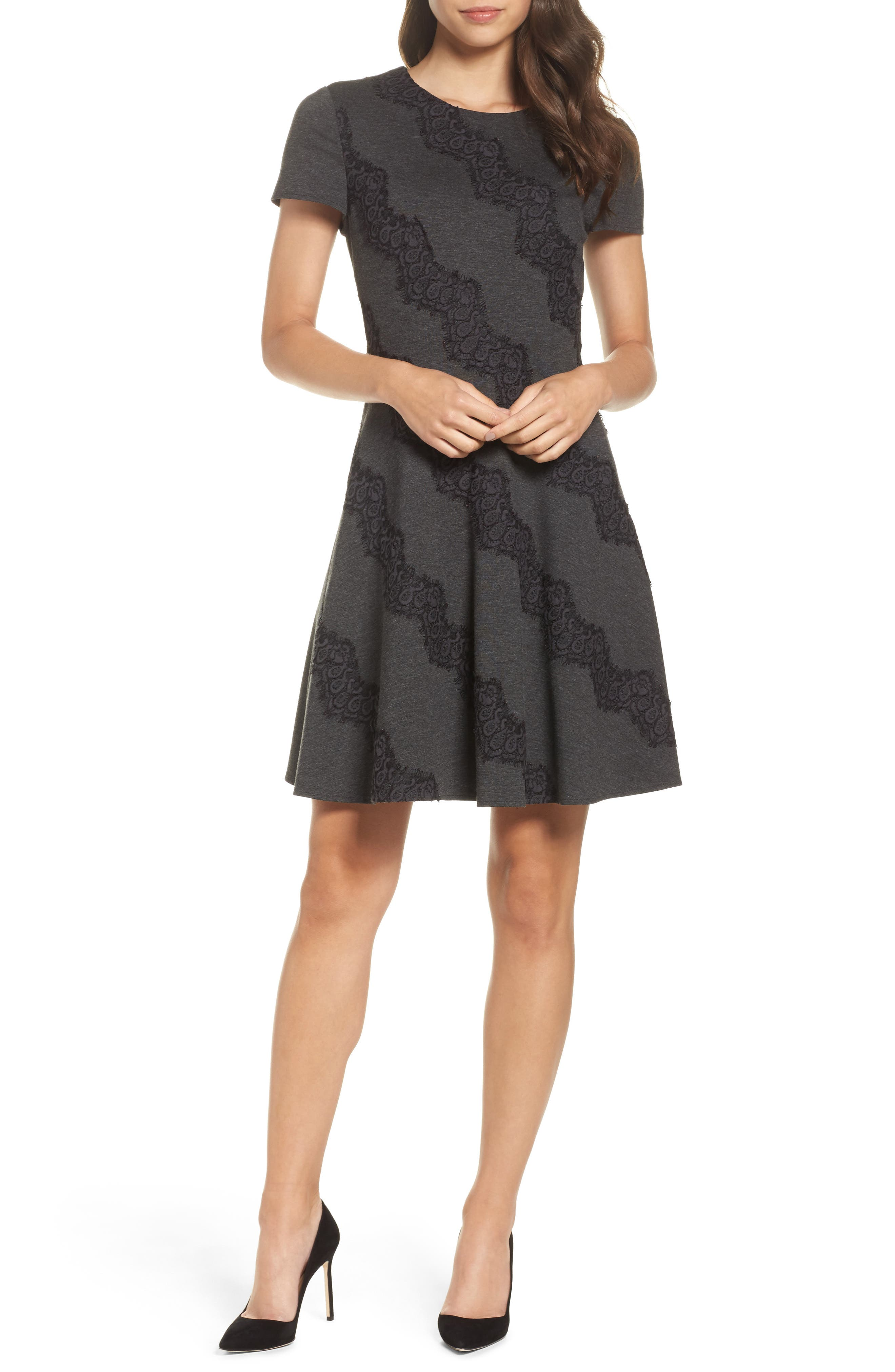 Placed Lace Fit & Flare Dress,                             Main thumbnail 1, color,                             030