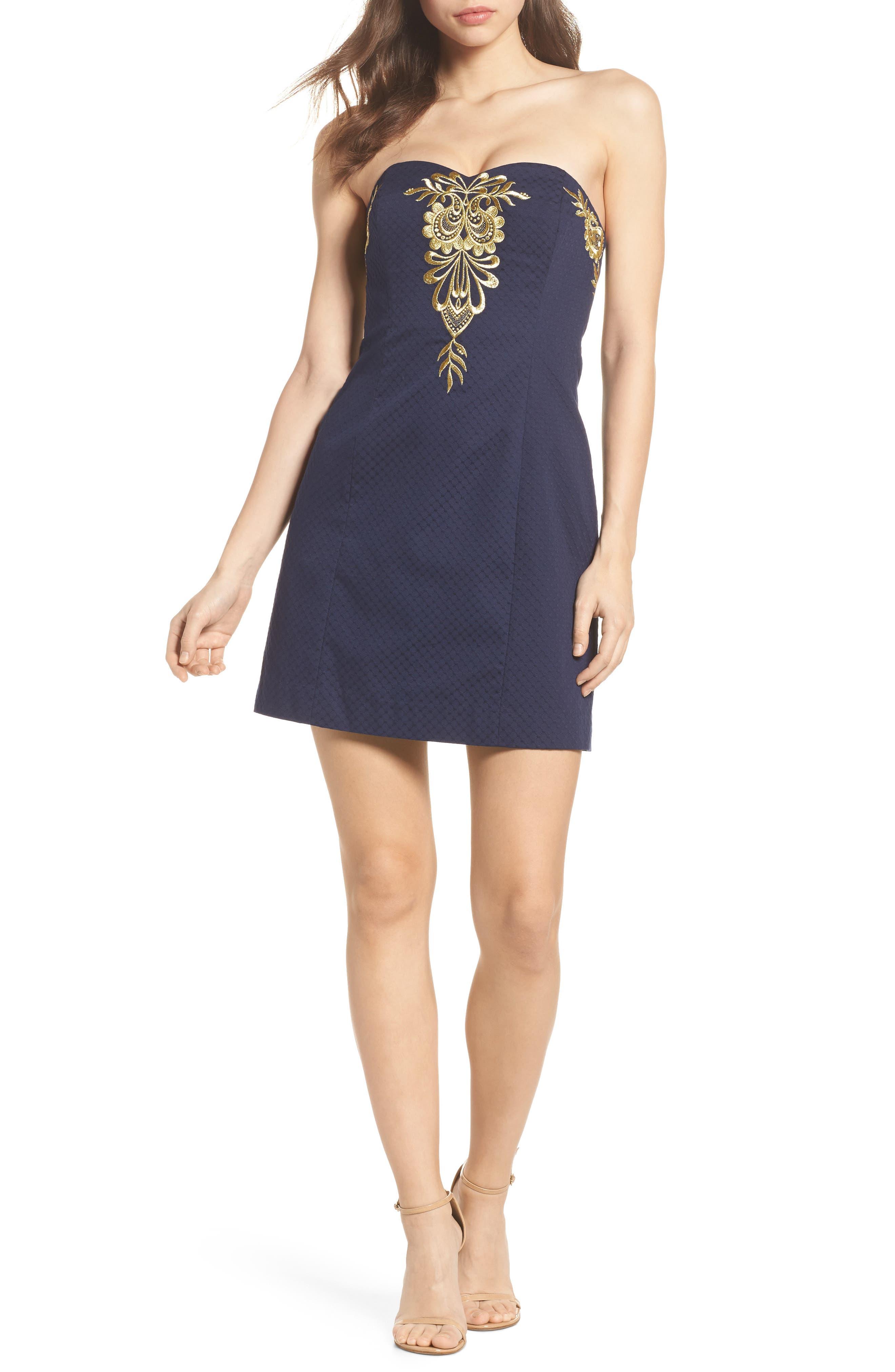 Demi Strapless Dress,                             Alternate thumbnail 5, color,