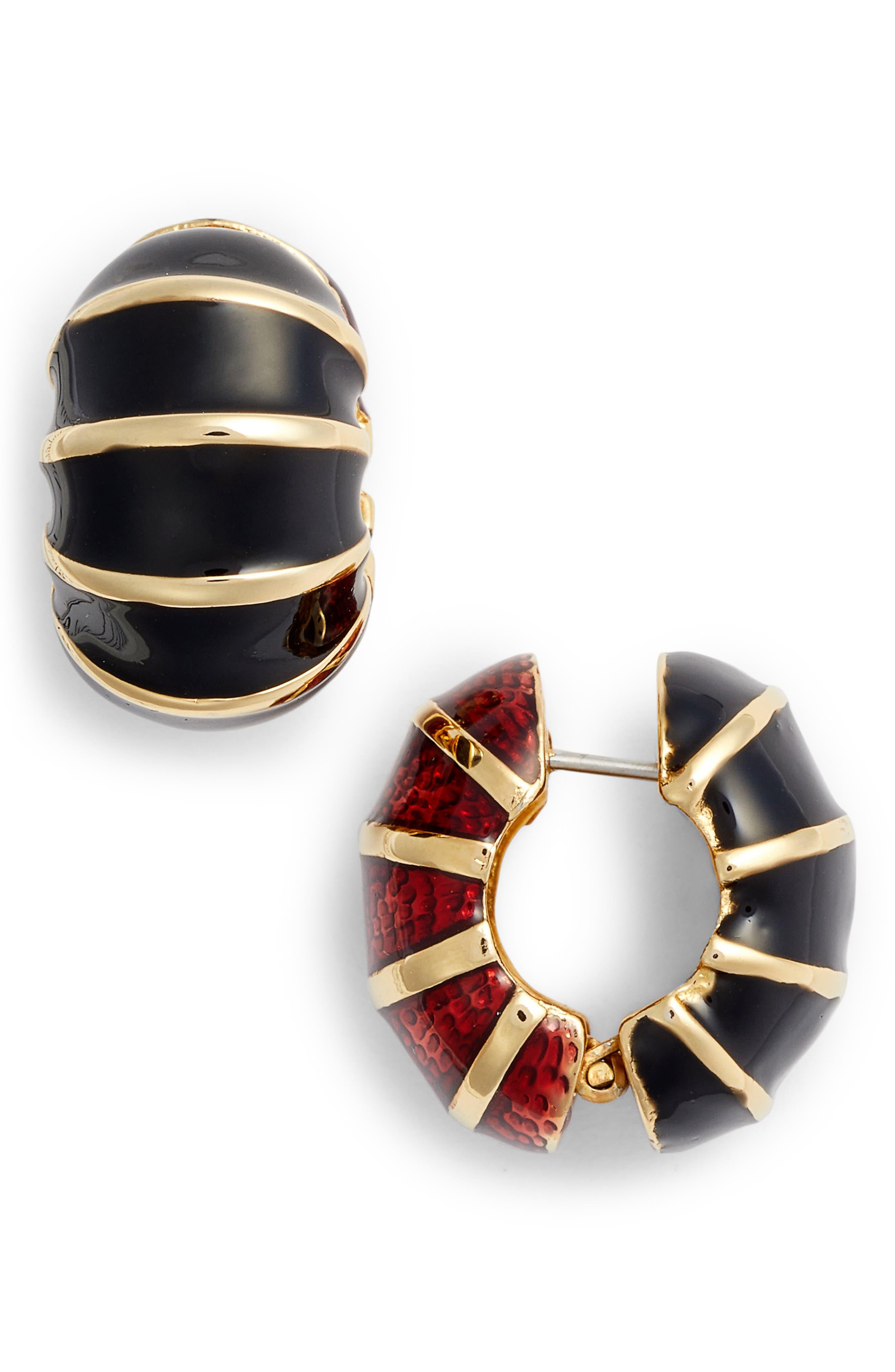 Black & Red Reversible Earrings,                             Main thumbnail 1, color,                             GARNET/ BLACK