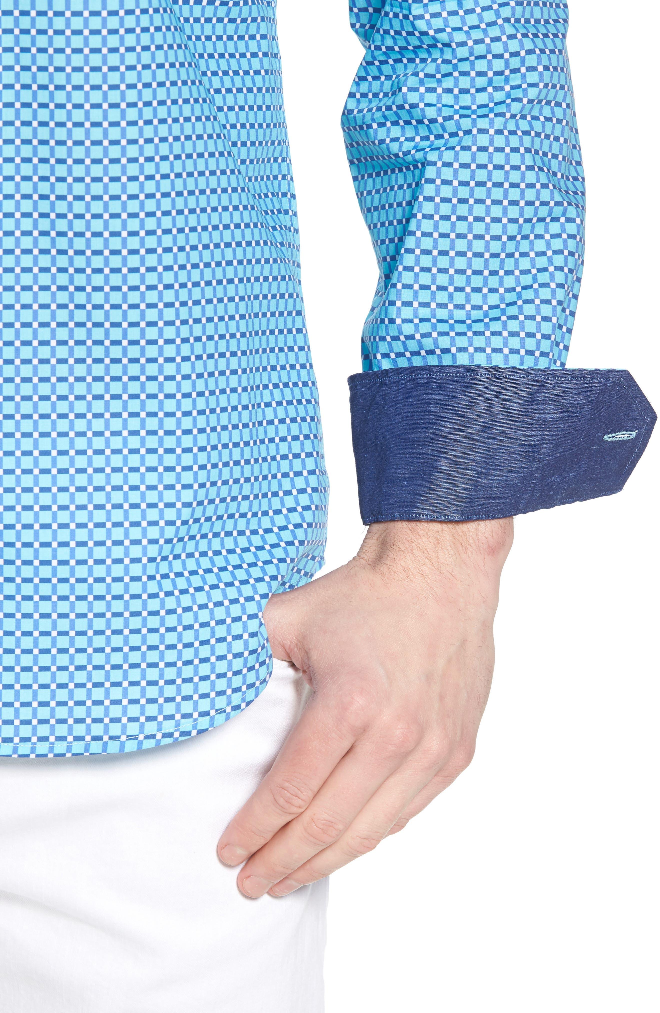 Shaped Fit Print Sport Shirt,                             Alternate thumbnail 17, color,