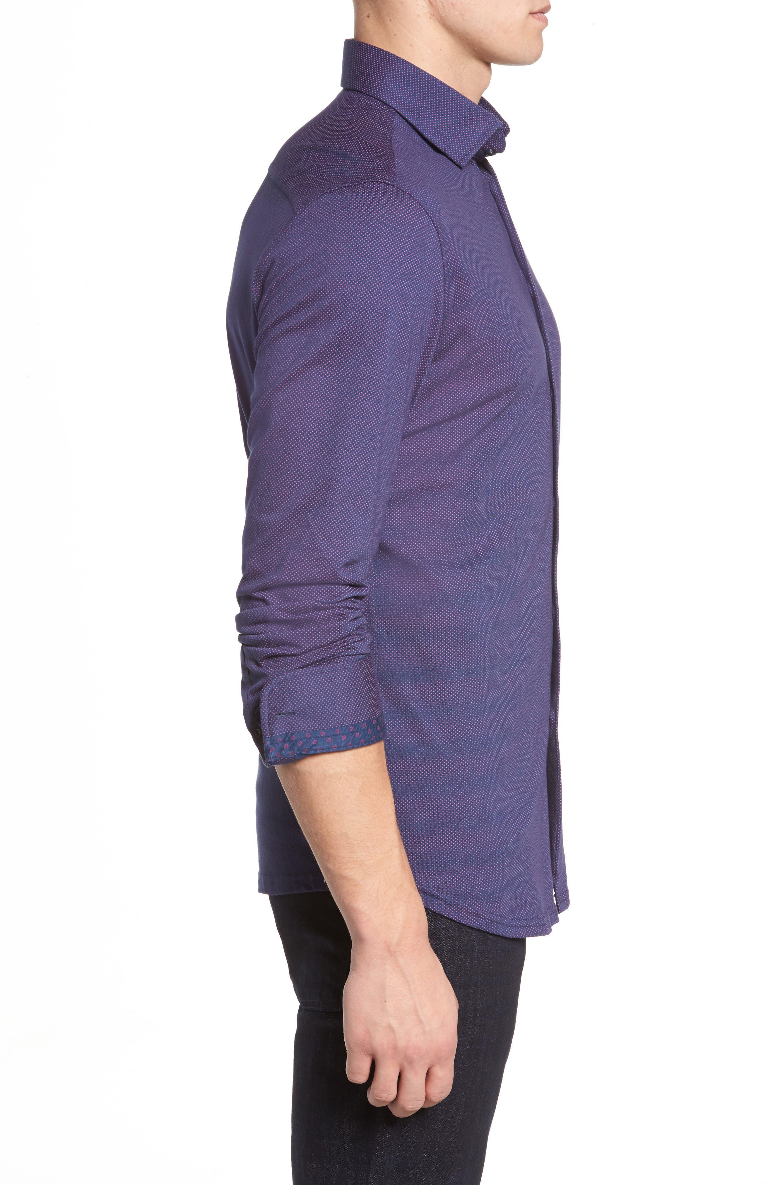 Slim Fit Micro Dot Knit Sport Shirt,                             Alternate thumbnail 3, color,                             001