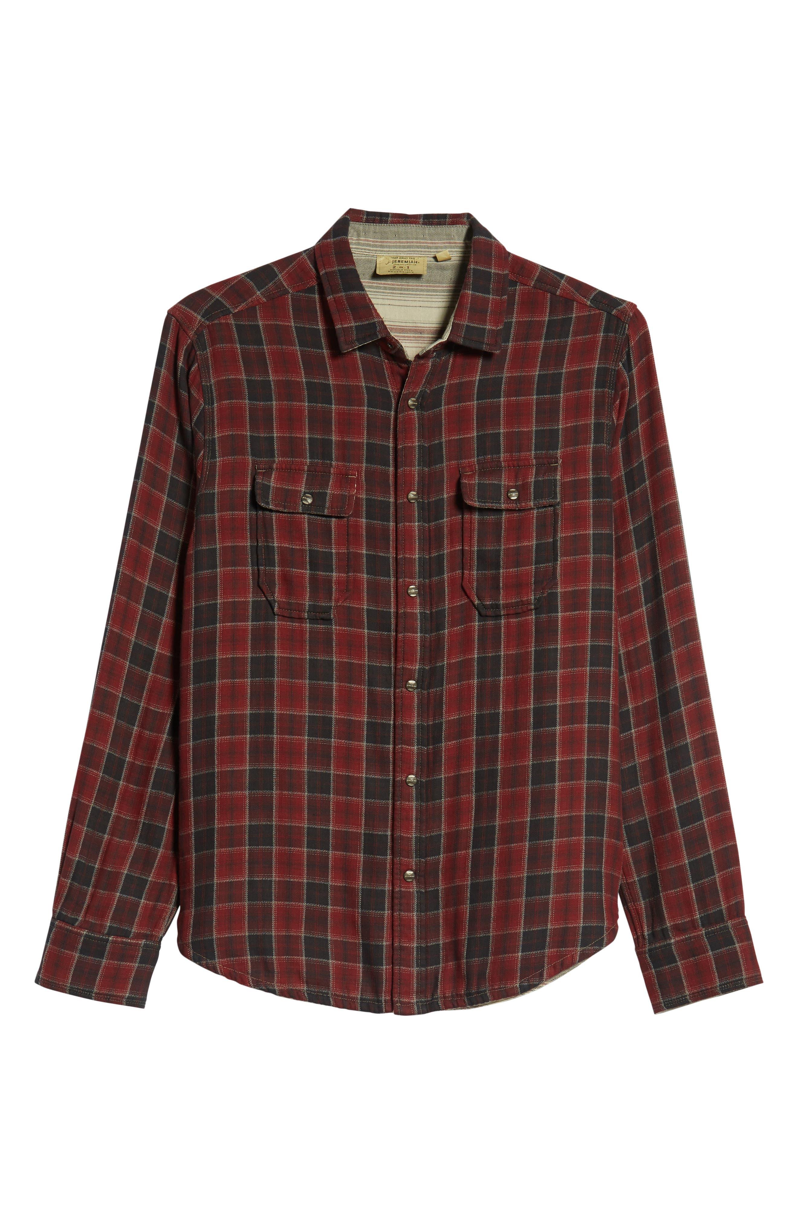 Boulder Regular Fit Reversible Plaid Shirt,                             Alternate thumbnail 6, color,                             OXBLOOD
