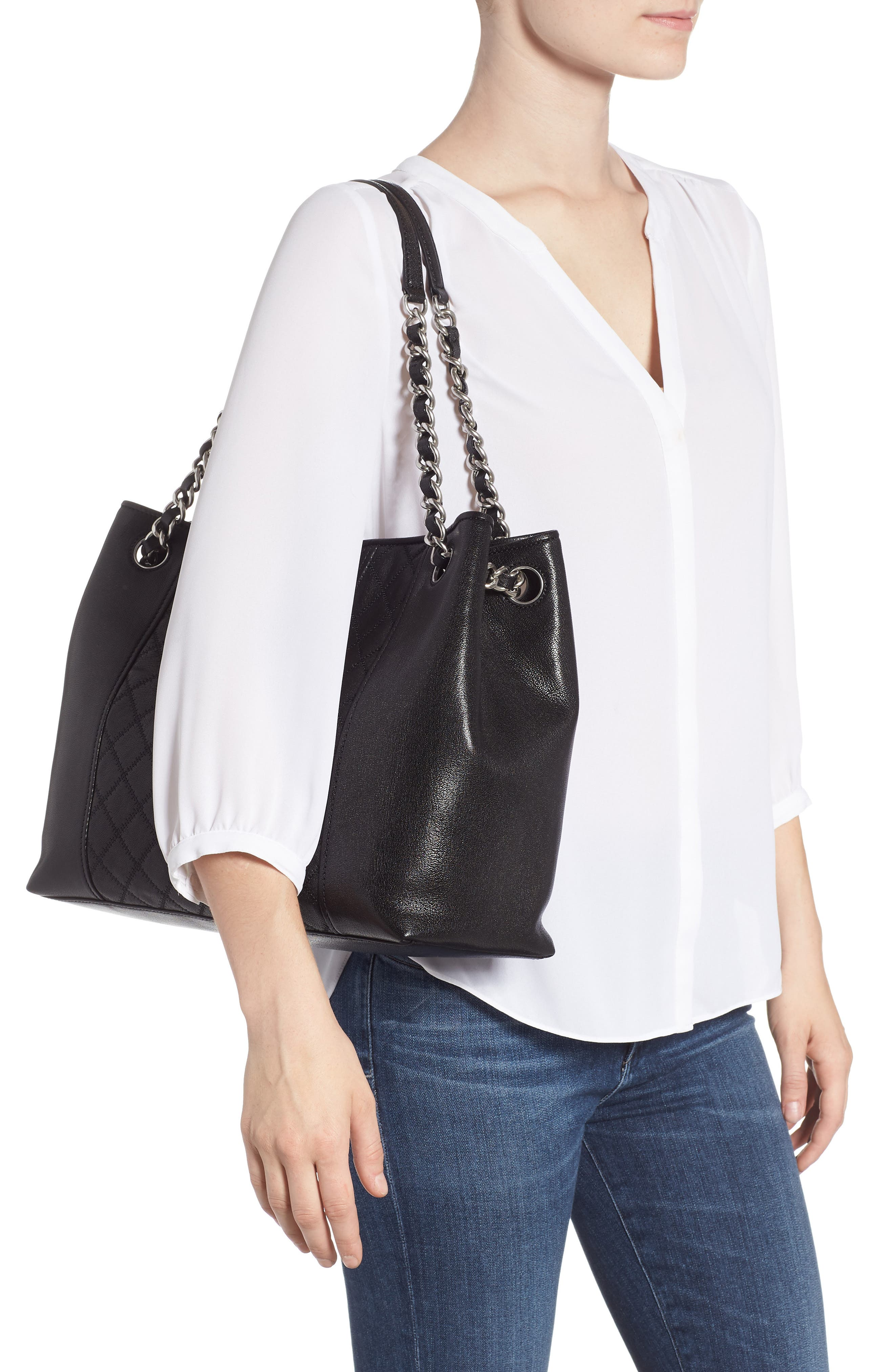Fleming Distressed Leather Tote,                             Alternate thumbnail 2, color,                             BLACK