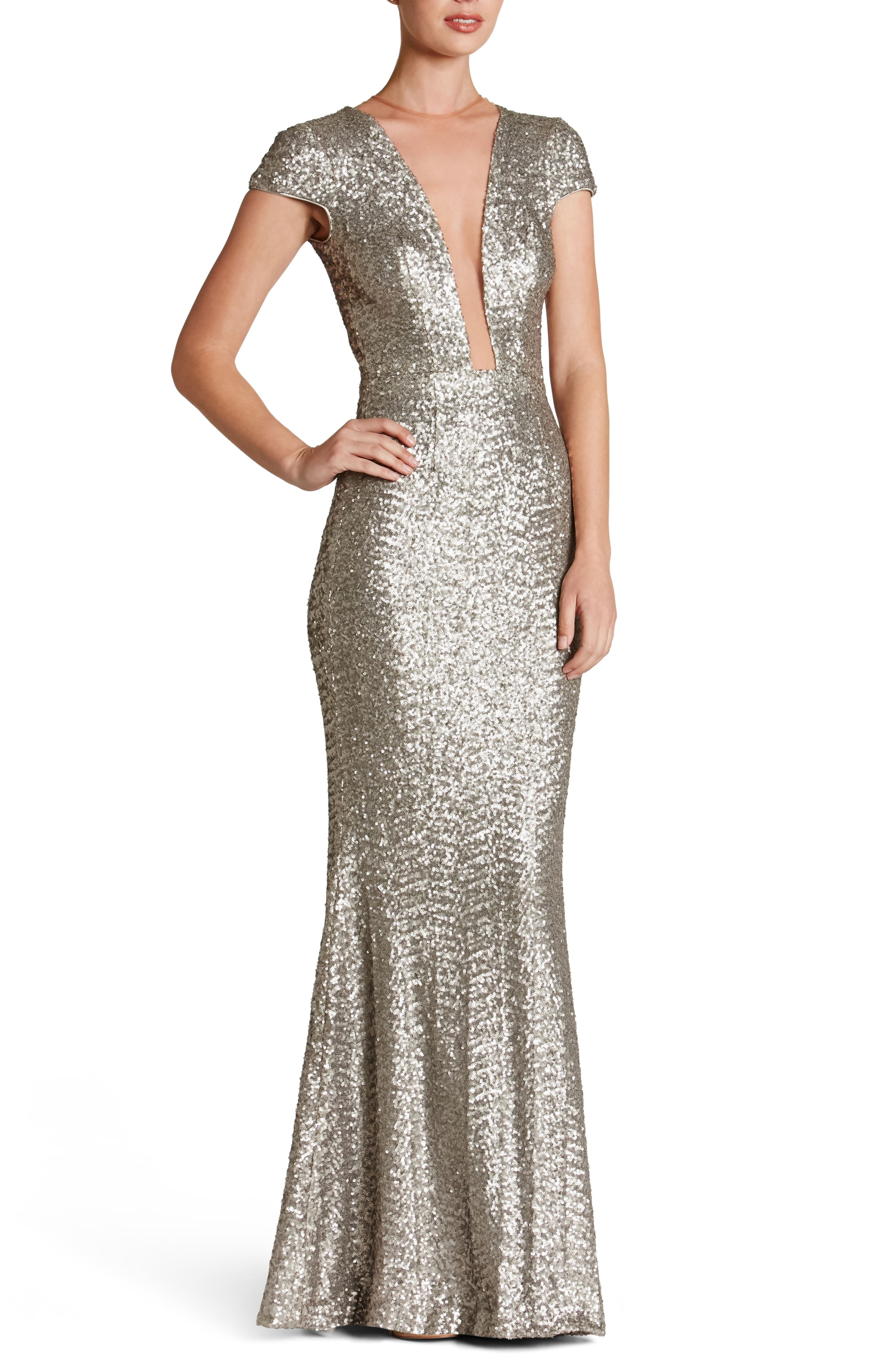 Michelle Sequin Gown,                         Main,                         color, PLATINUM