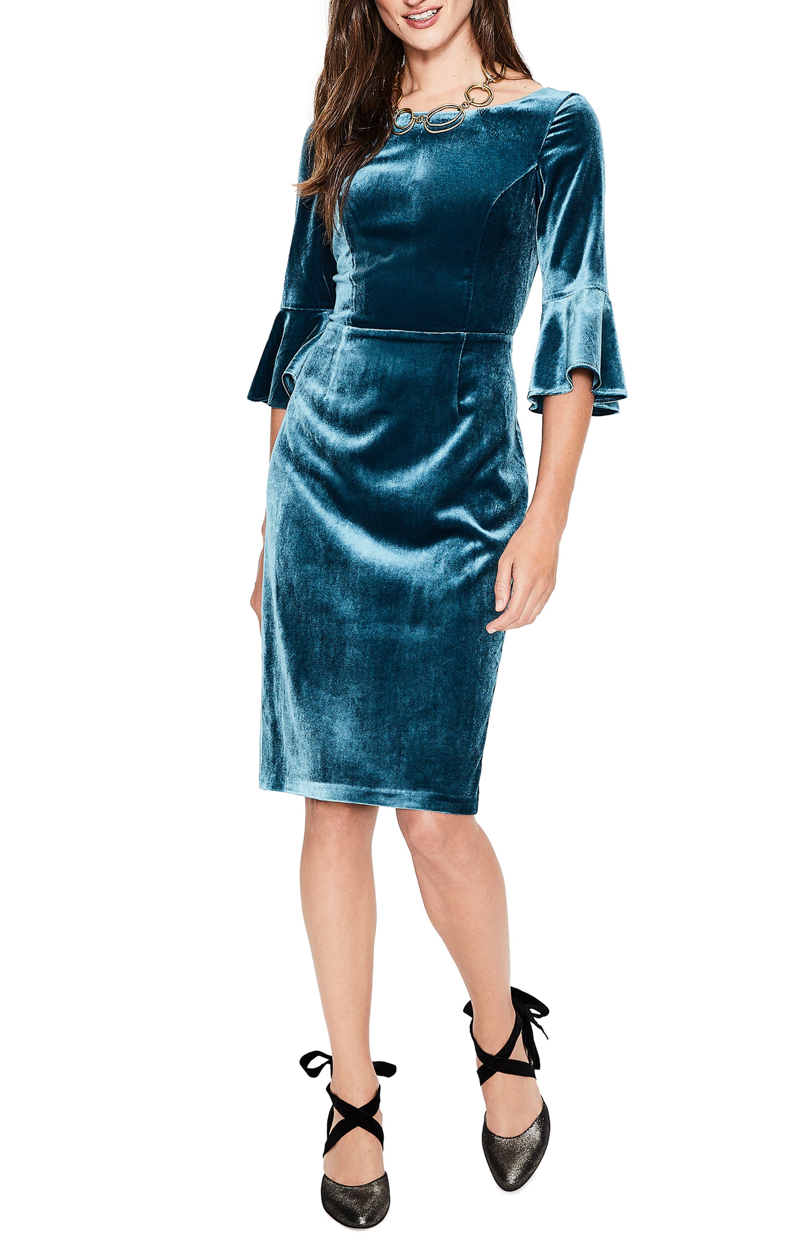 Aubrey Flounce Sleeve Velvet Dress,                             Main thumbnail 1, color,                             424