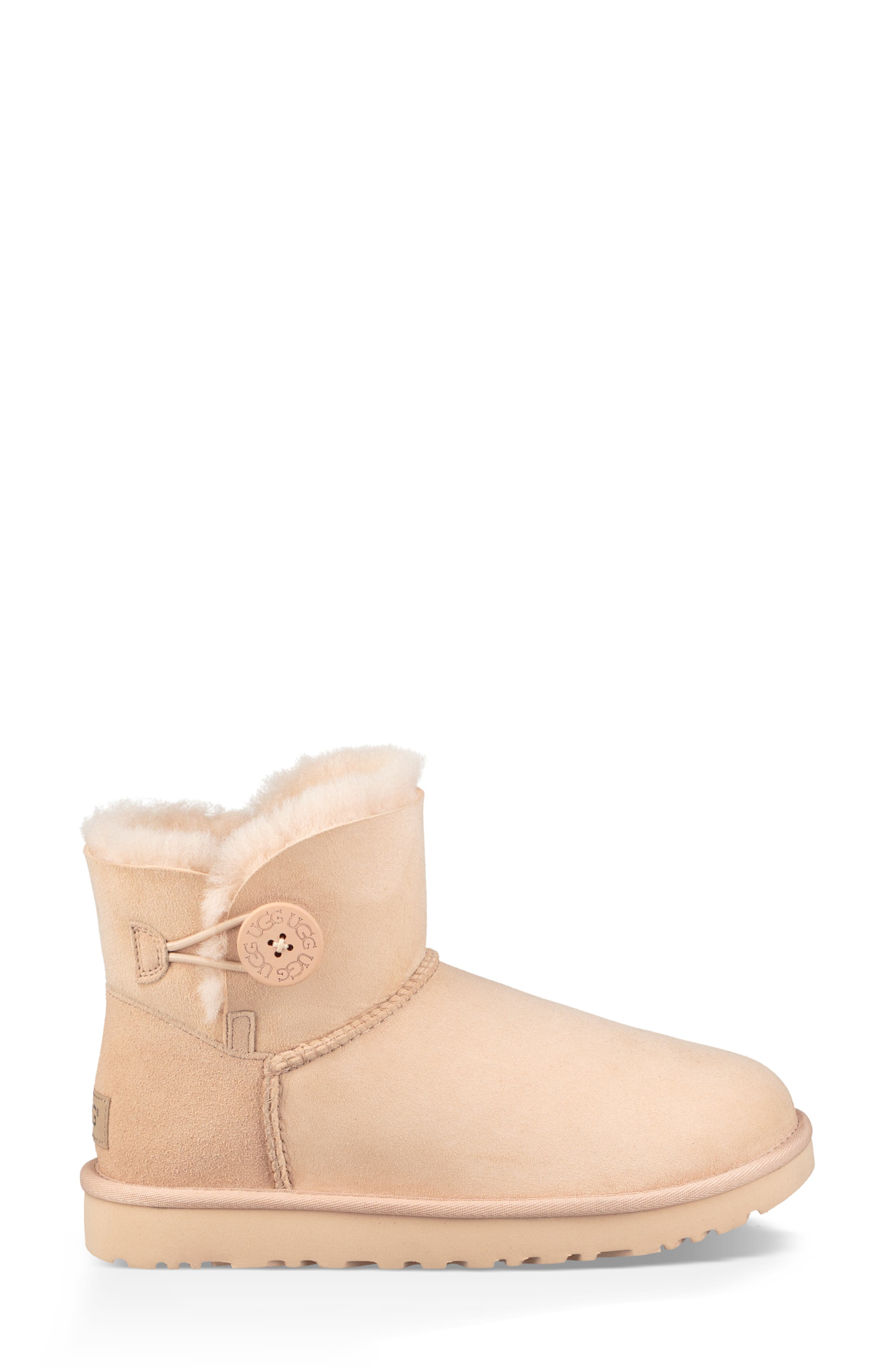 'Mini Bailey Button II' Boot,                             Alternate thumbnail 3, color,                             AMBER LIGHT SUEDE