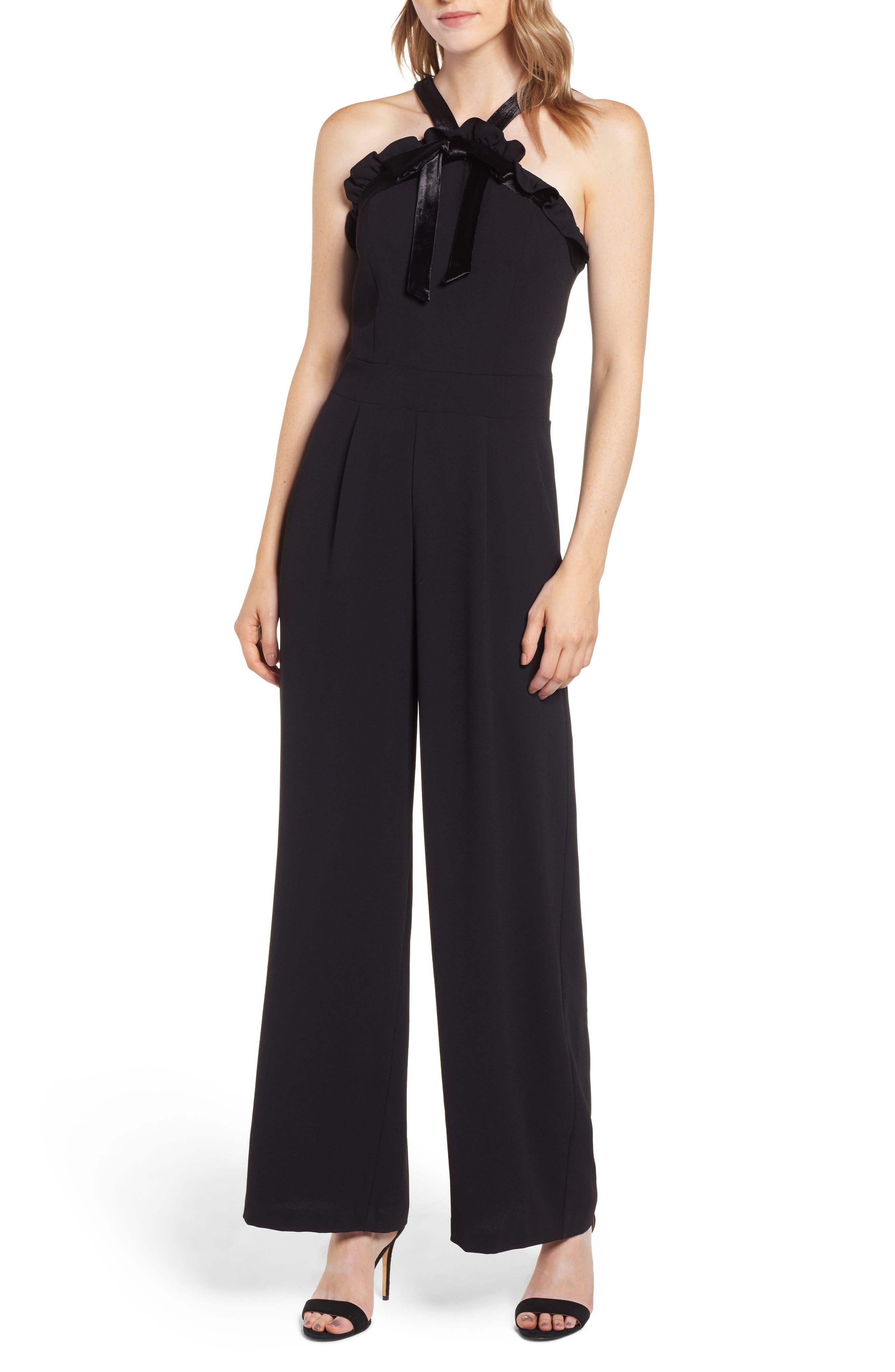 Velvet Bow Detail Jumpsuit,                         Main,                         color, RICH BLACK