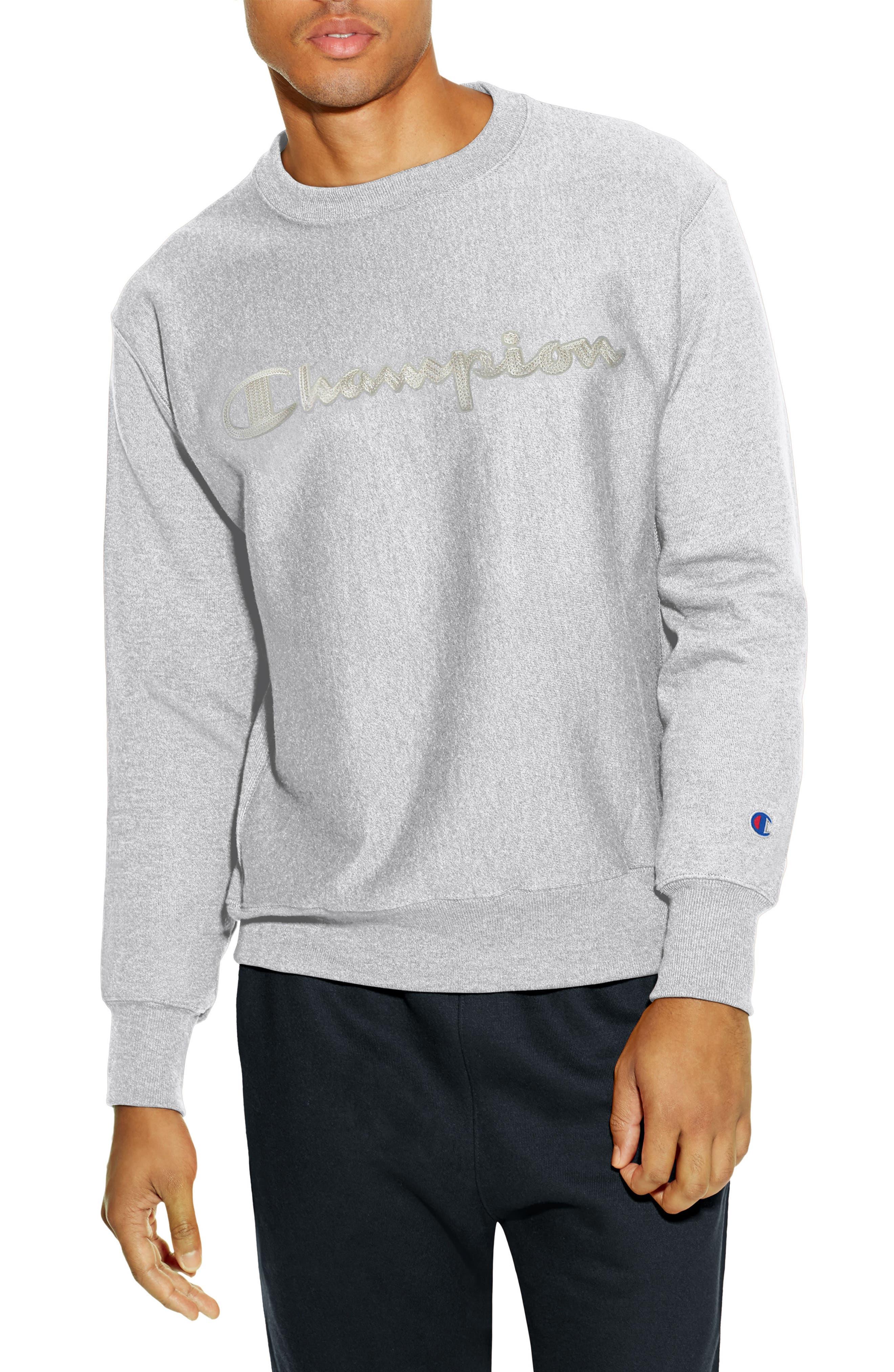 Reverse Weave Crewneck Cotton Blend Sweatshirt,                             Main thumbnail 1, color,                             OXFORD GRAY
