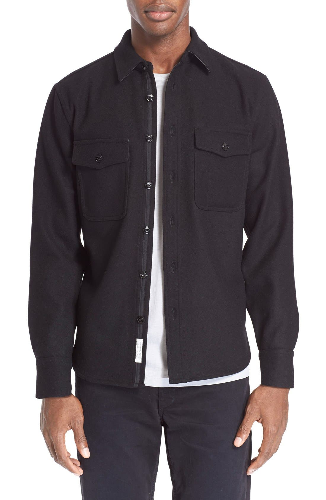 'Jack' Trim Fit Wool Shirt, Main, color, 001