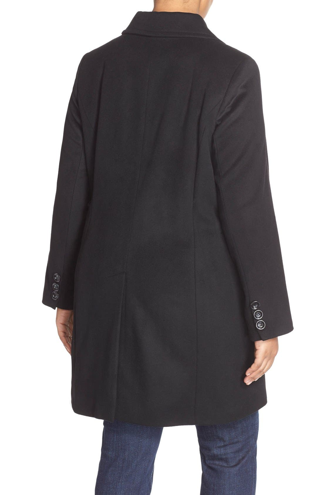 Notch Collar Wool Blend Coat,                             Alternate thumbnail 4, color,                             BLACK