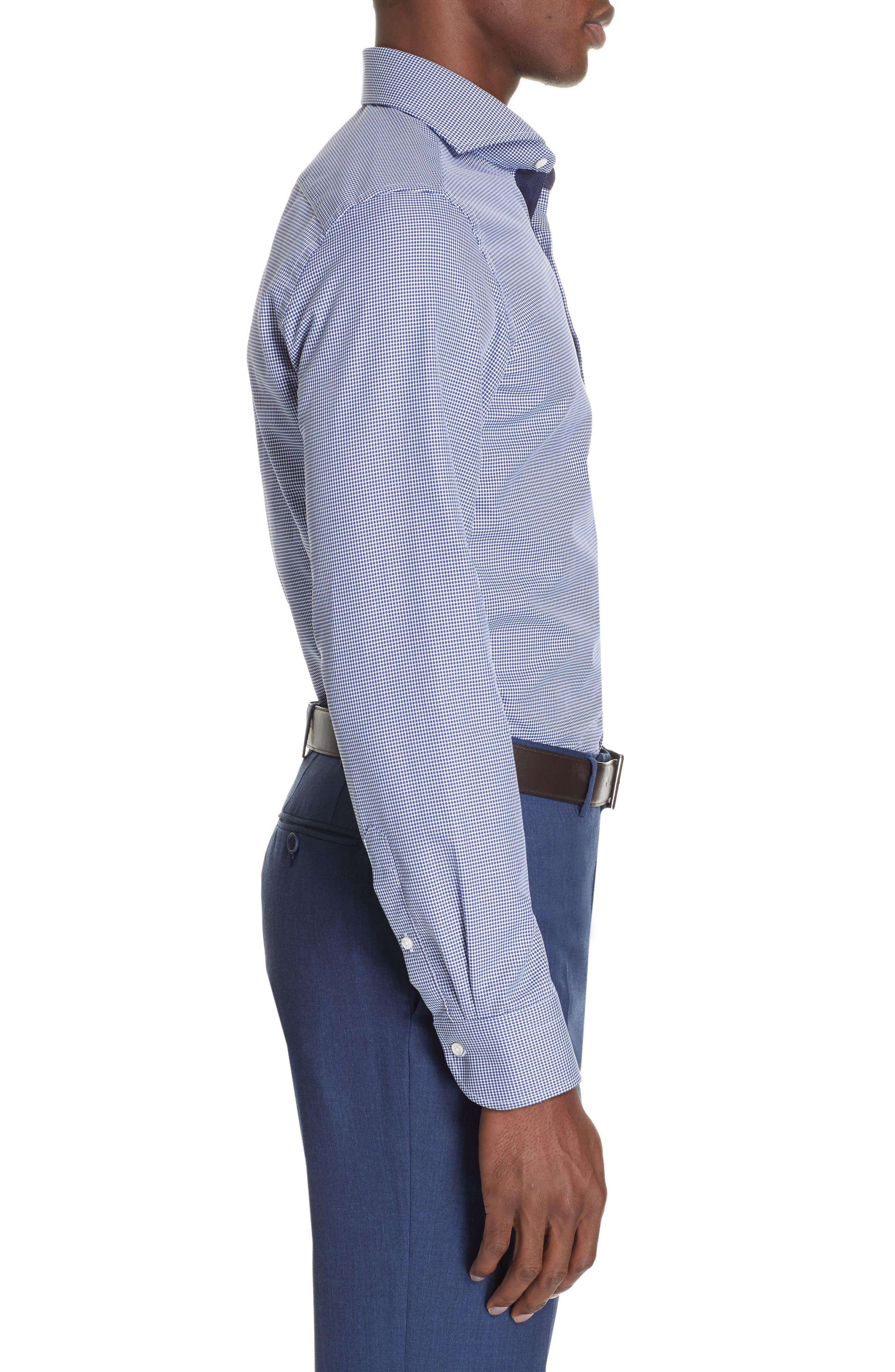 Slim Fit Dot Dress Shirt,                             Alternate thumbnail 4, color,                             NAVY