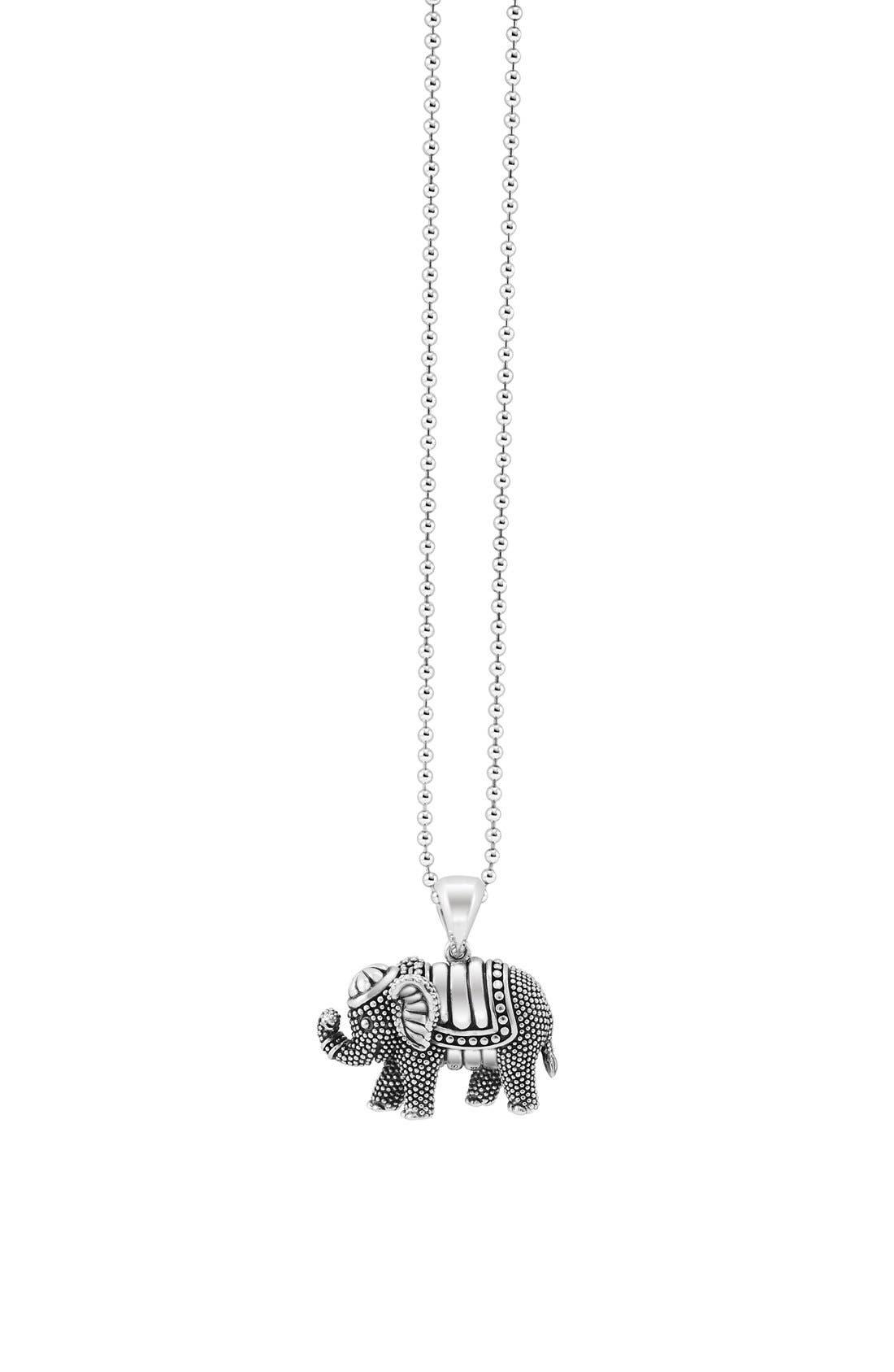 LAGOS,                             Rare Wonders Long Talisman Necklace,                             Alternate thumbnail 4, color,                             SILVER/ ELEPHANT
