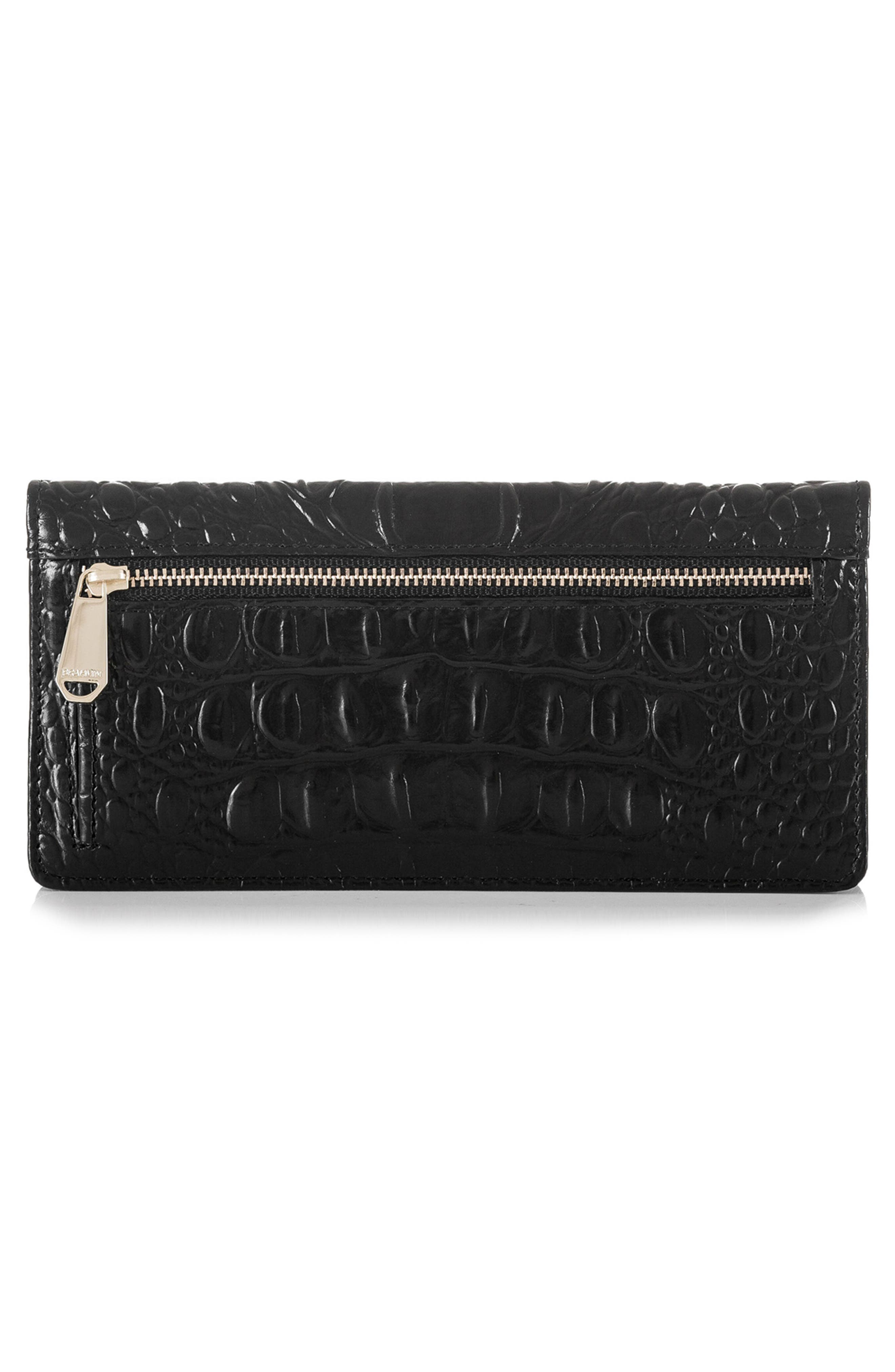 'Ady' Croc Embossed Continental Wallet,                             Alternate thumbnail 3, color,                             BLACK