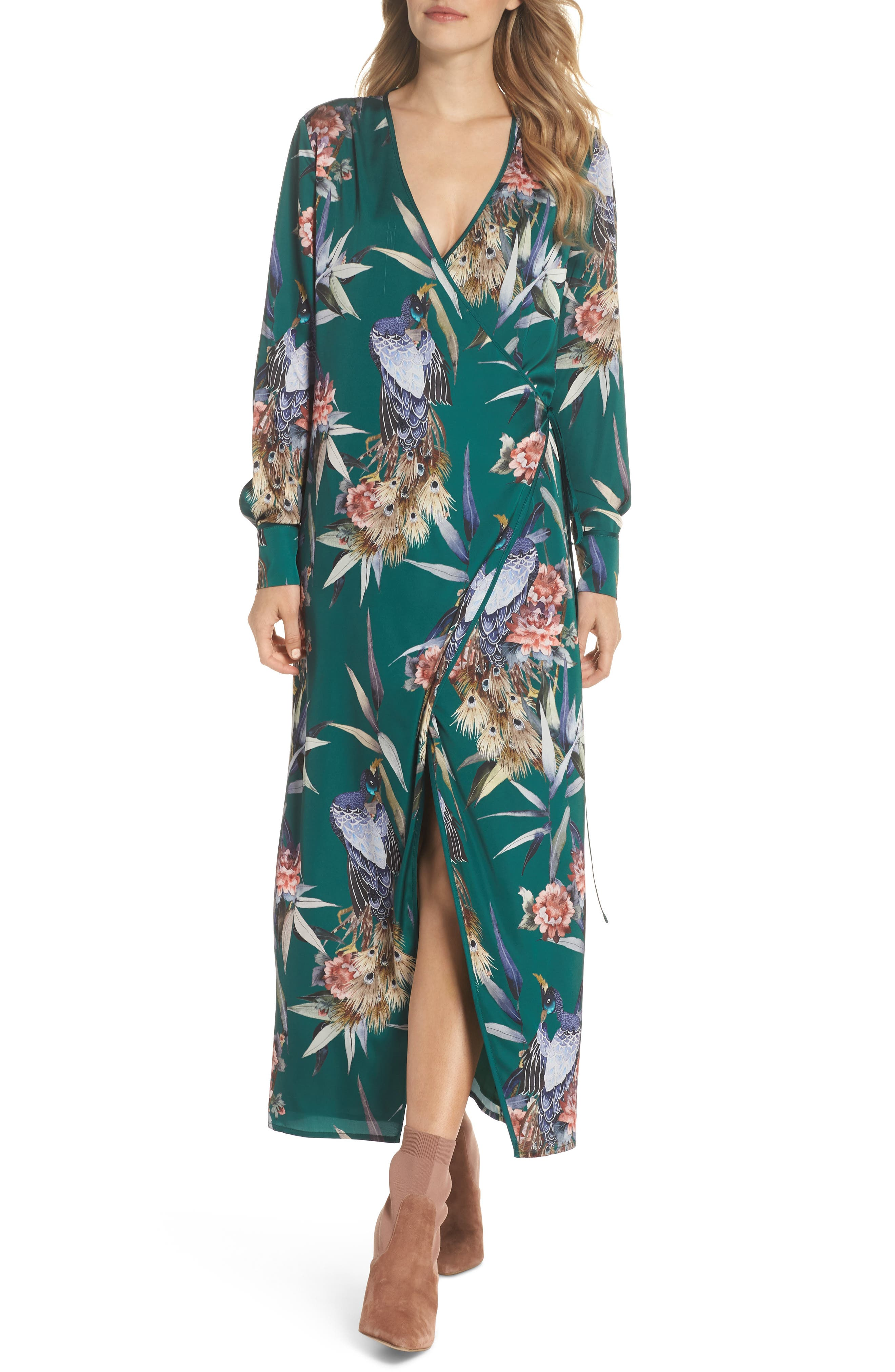 FOREST LILY,                             Floral Print Wrap Dress,                             Main thumbnail 1, color,                             EVERGREEN COMBO