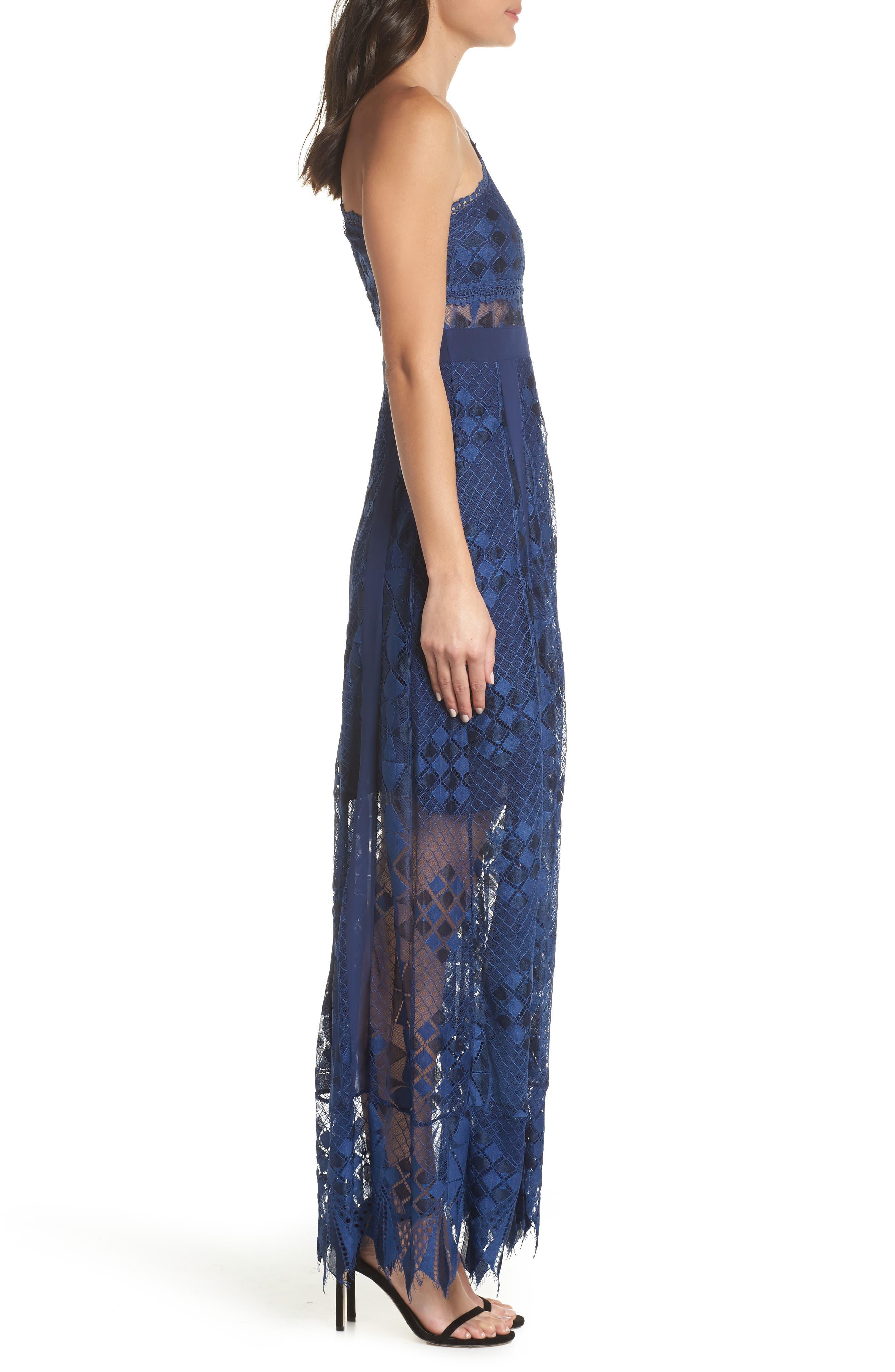 Juliet One-Shoulder Lace Gown,                             Alternate thumbnail 3, color,                             NAVY