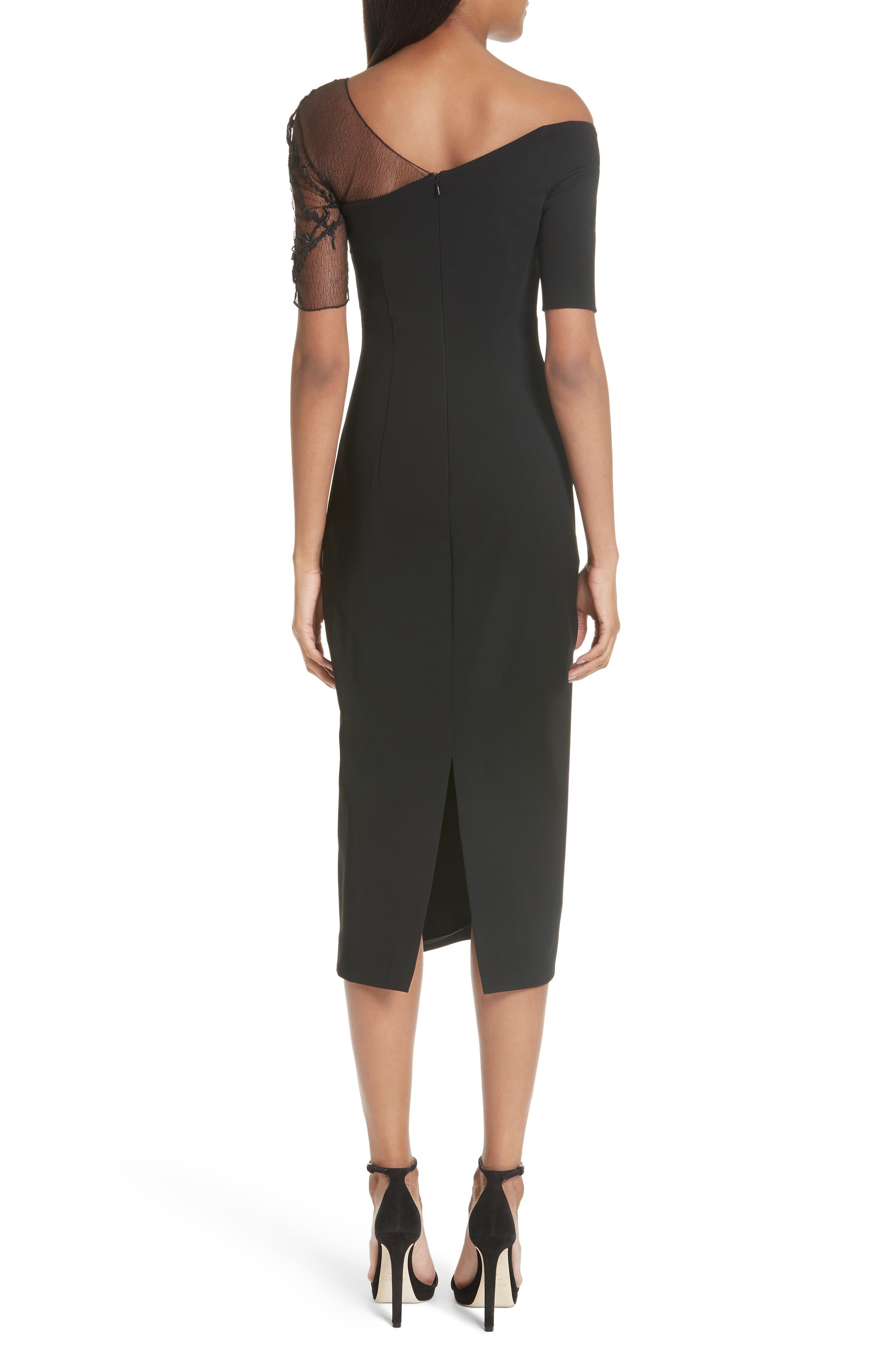 CUSHNIE,                             et Ochs Embellished Mesh One-Shoulder Sheath Dress,                             Alternate thumbnail 2, color,                             001