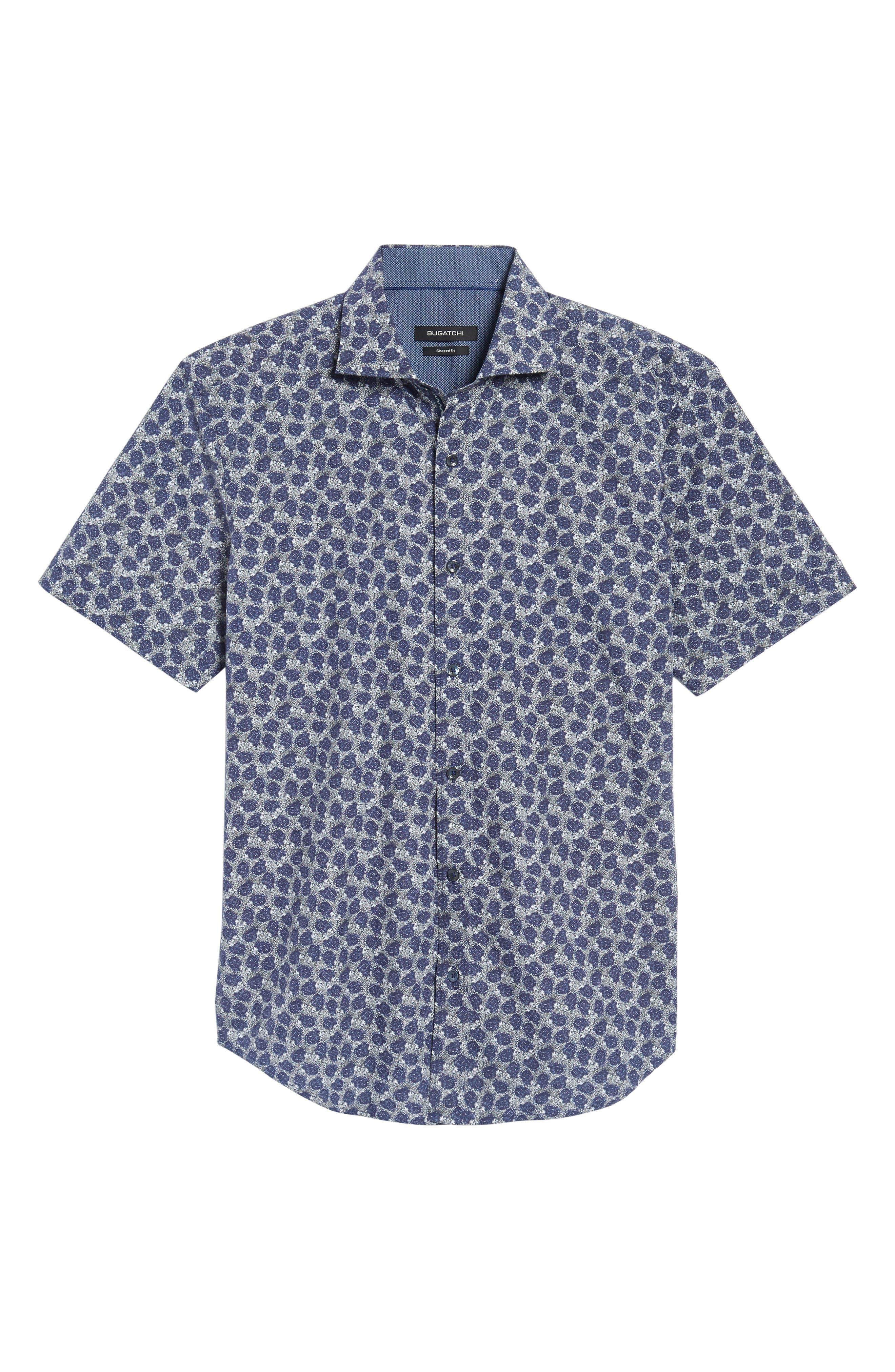 Shaped Fit Print Sport Shirt,                             Alternate thumbnail 6, color,                             408