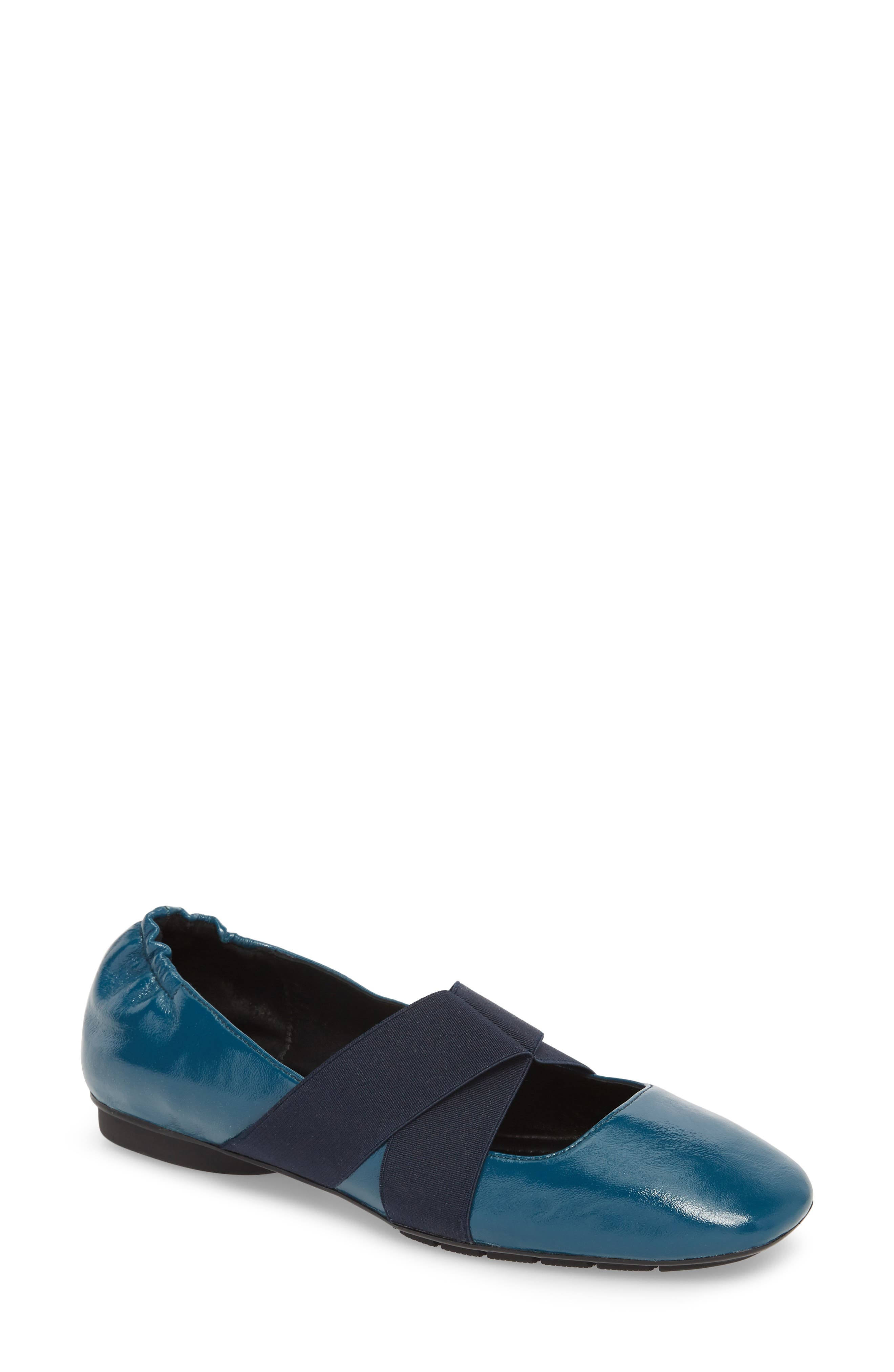 Danae Flat,                             Main thumbnail 1, color,                             NAVY LEATHER
