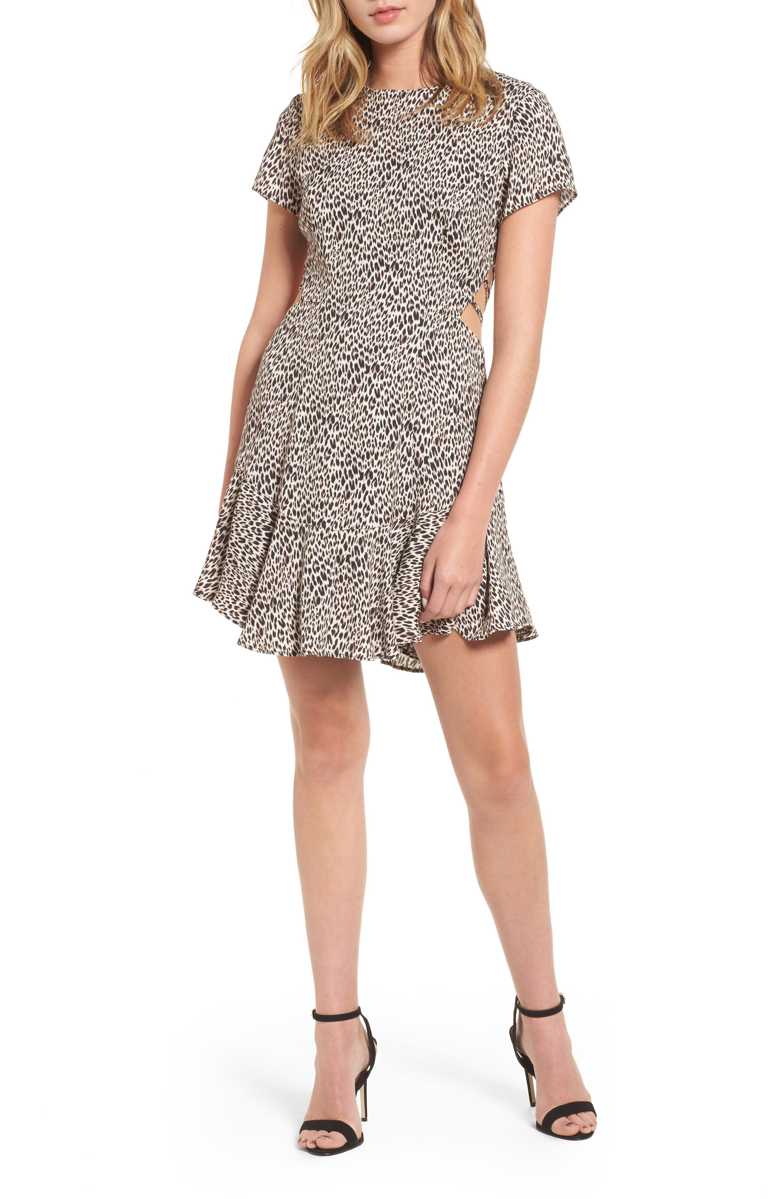 Chelsea Lattice Back Fit & Flare Dress,                             Main thumbnail 3, color,