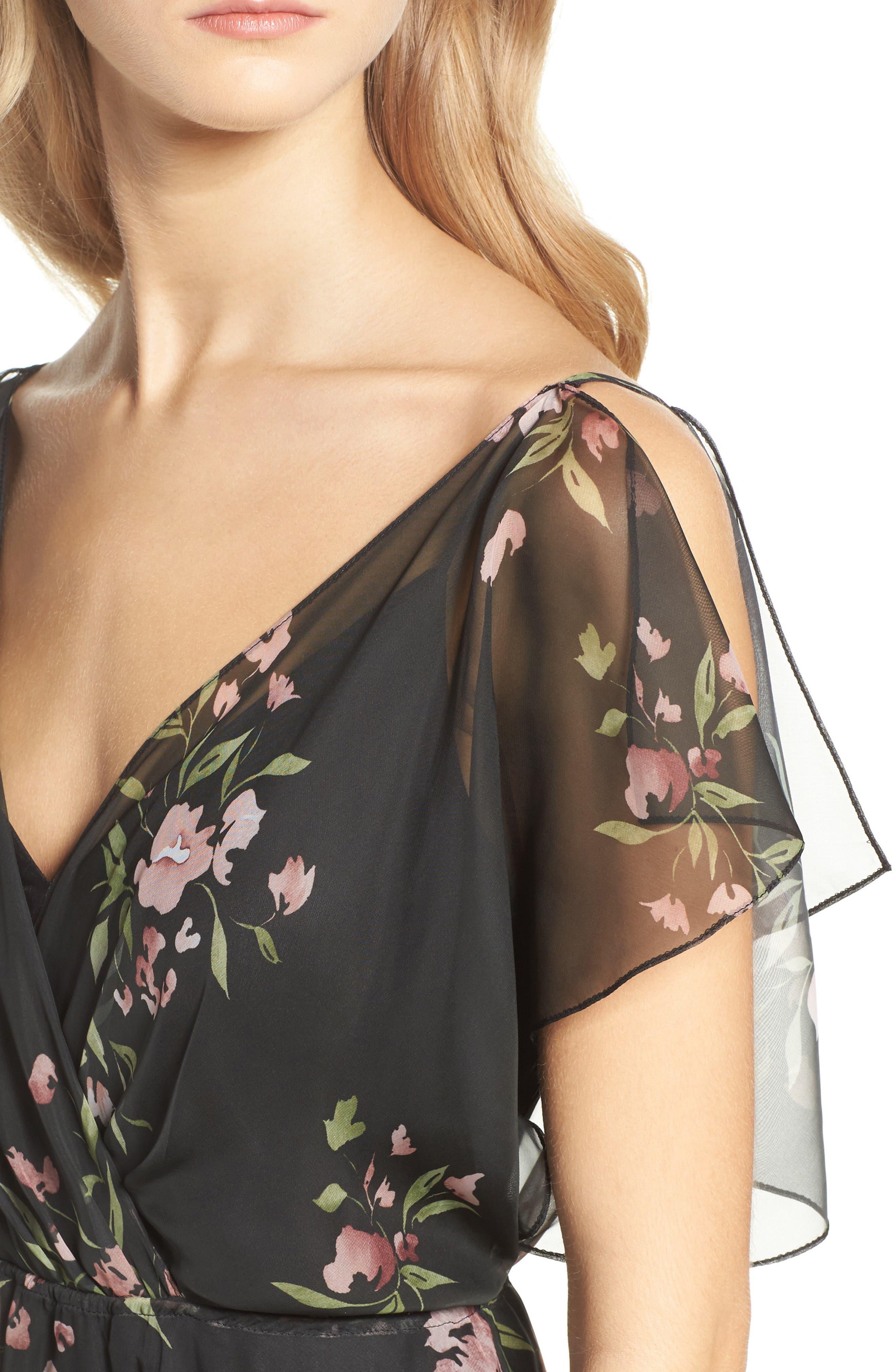 Cassie Flutter Sleeve Surplice Gown,                             Alternate thumbnail 4, color,                             001