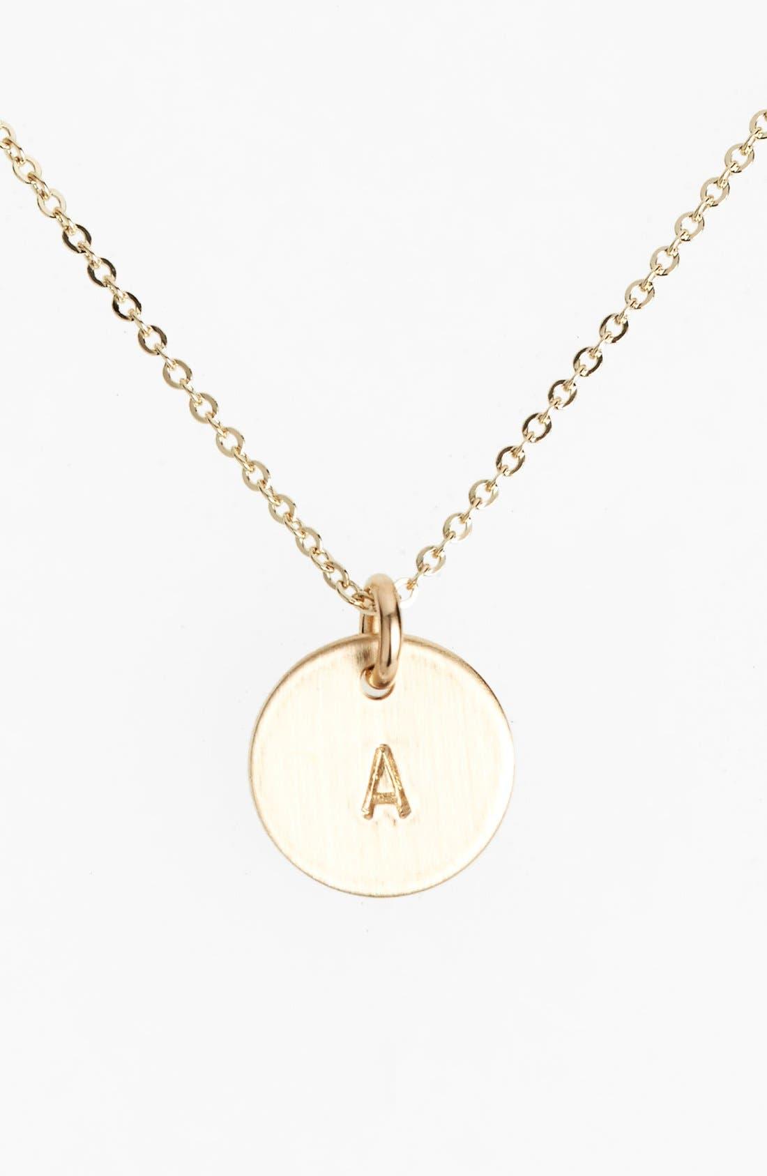 14k-Gold Fill Initial Mini Circle Necklace,                             Main thumbnail 1, color,                             14K GOLD FILL A