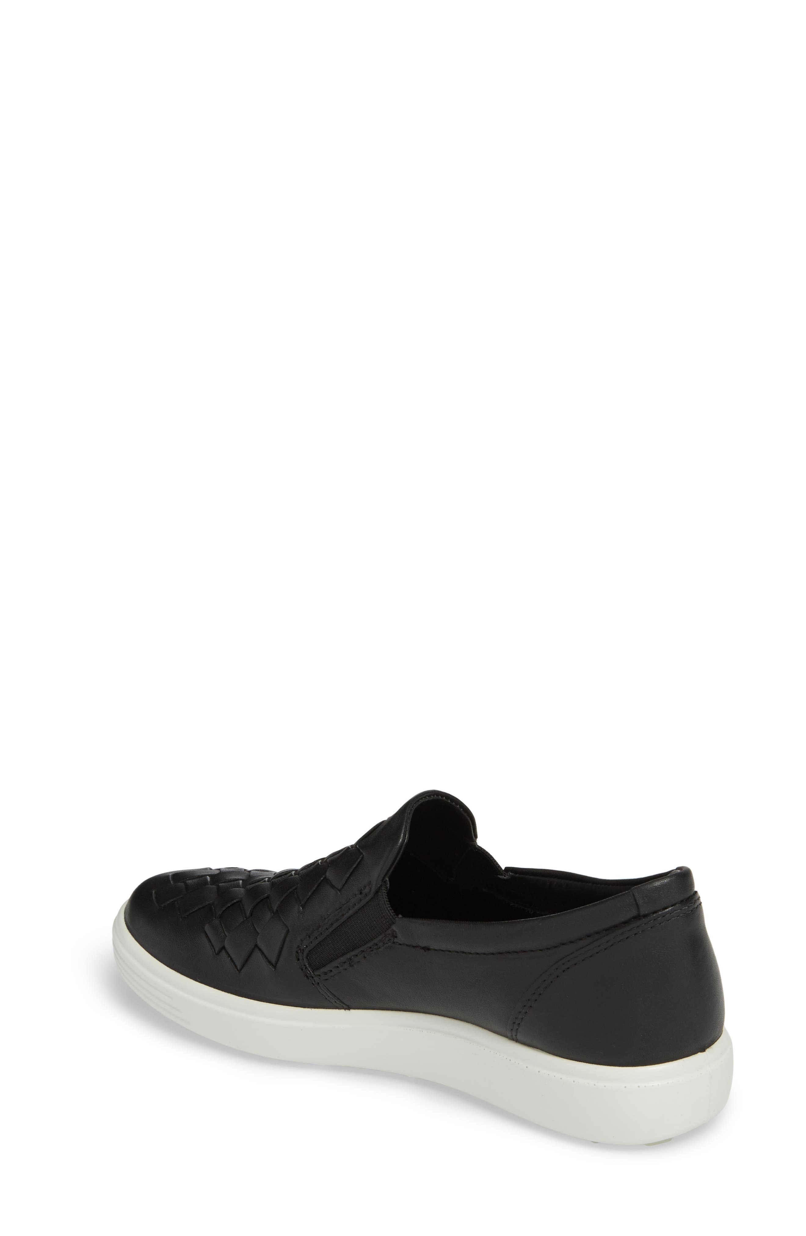 ECO Soft 7 Woven Slip-On Sneaker,                             Alternate thumbnail 2, color,                             BLACK LEATHER