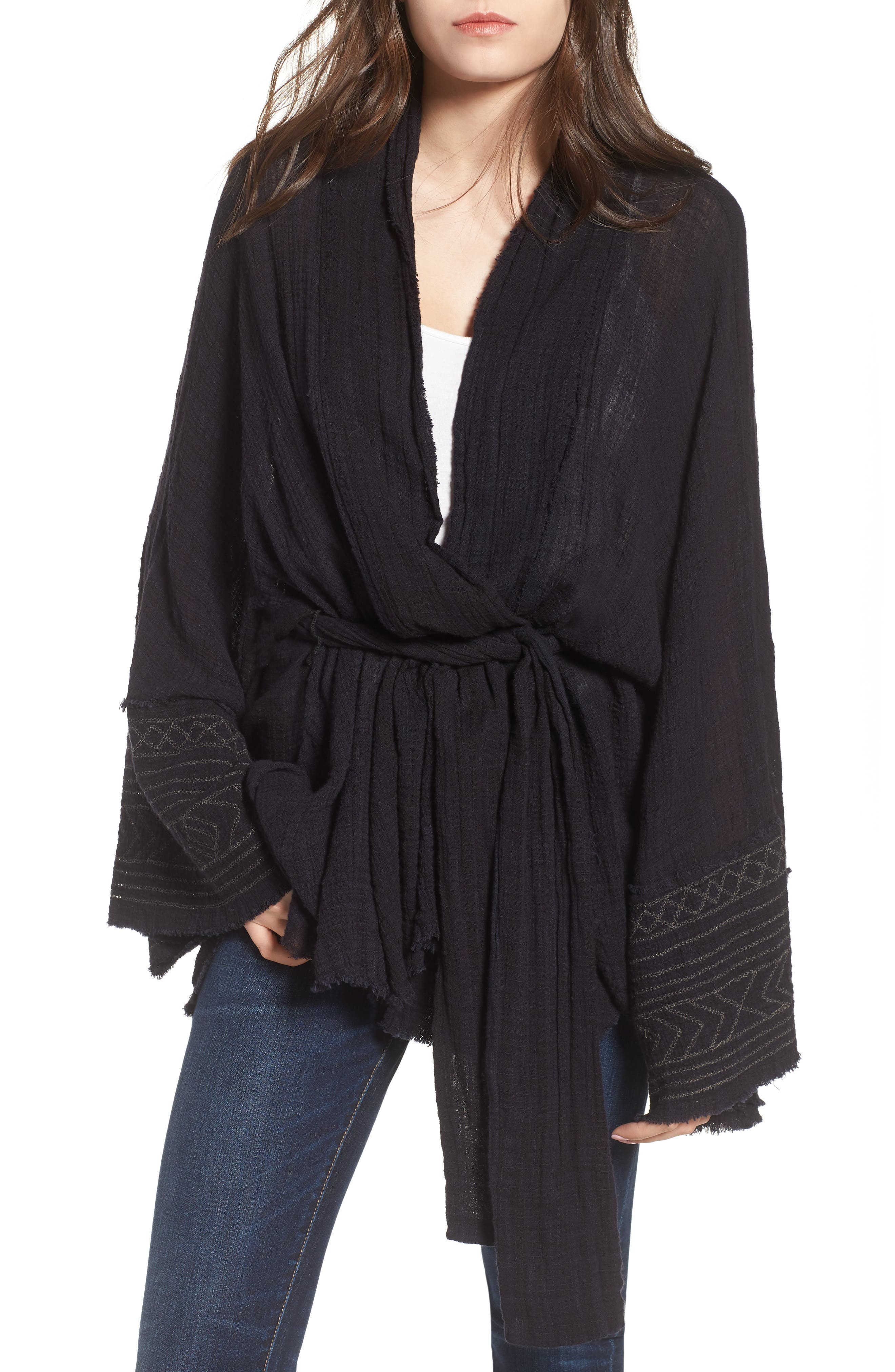 Tie Wrap Kimono,                             Main thumbnail 1, color,                             BLACK