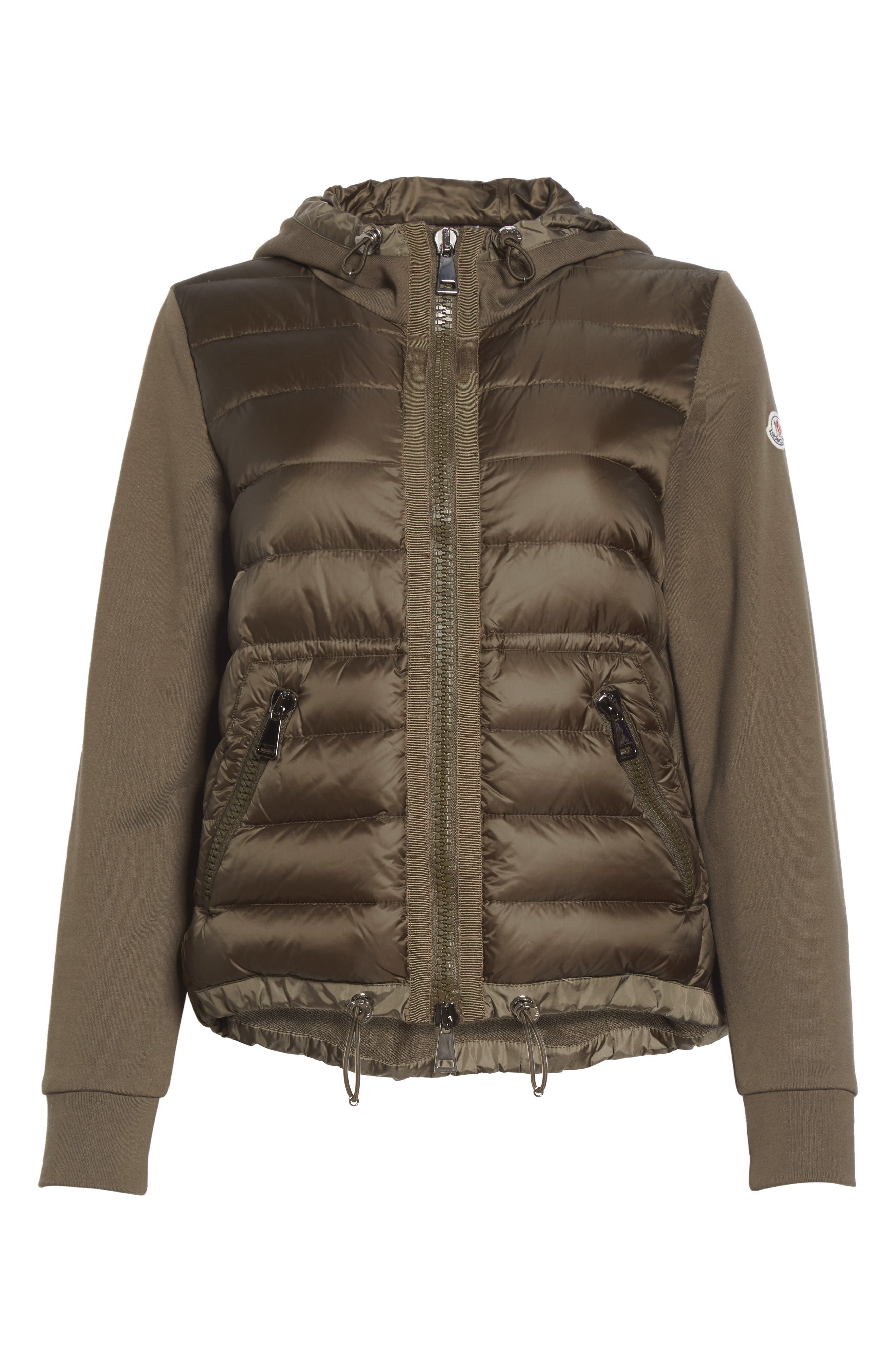 Quilted Front Hooded Jacket,                             Alternate thumbnail 5, color,                             OLIVE