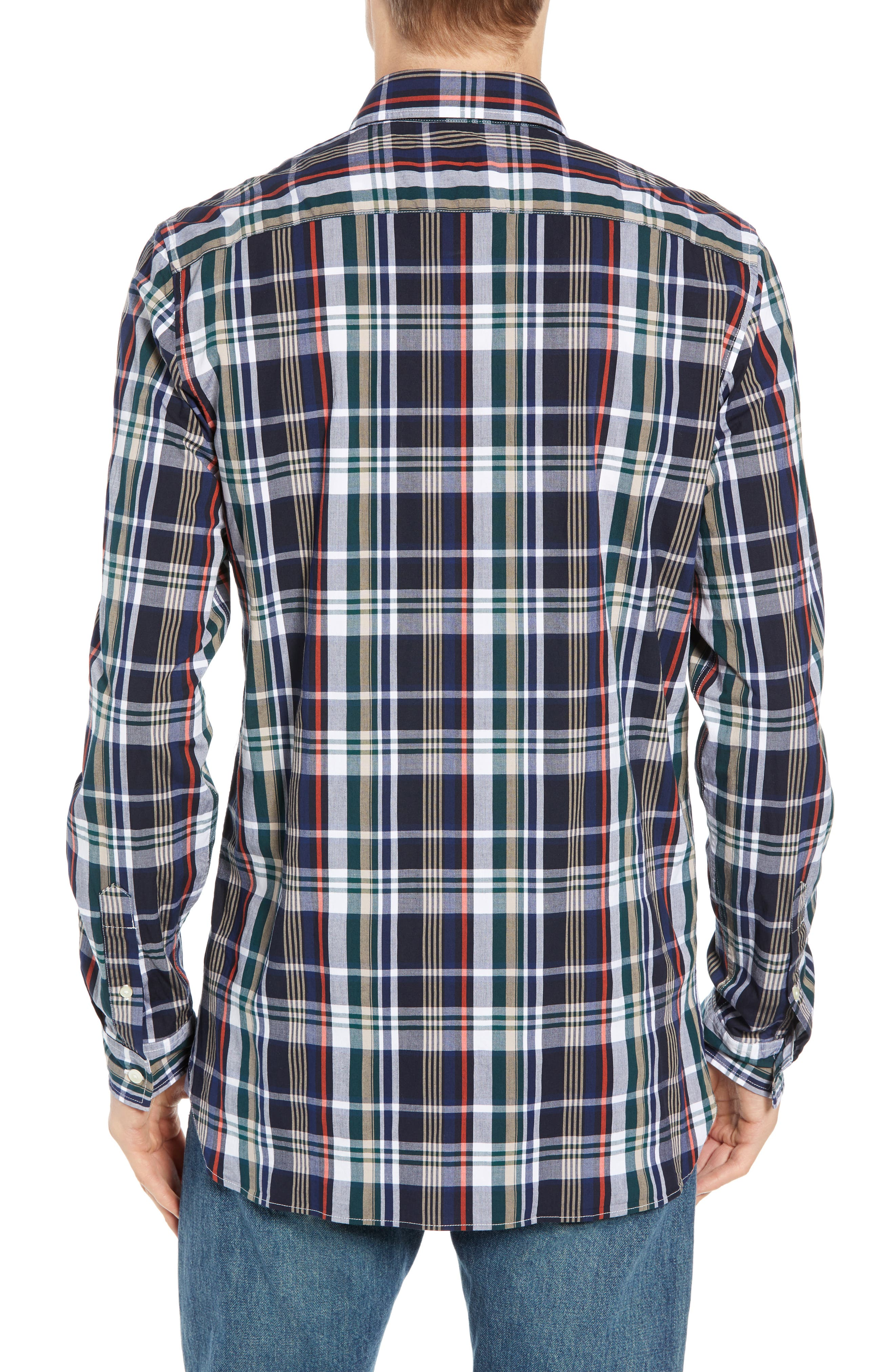 Slim Fit Plaid Sport Shirt,                             Alternate thumbnail 3, color,                             DY5 ACONIT/ MULTICO
