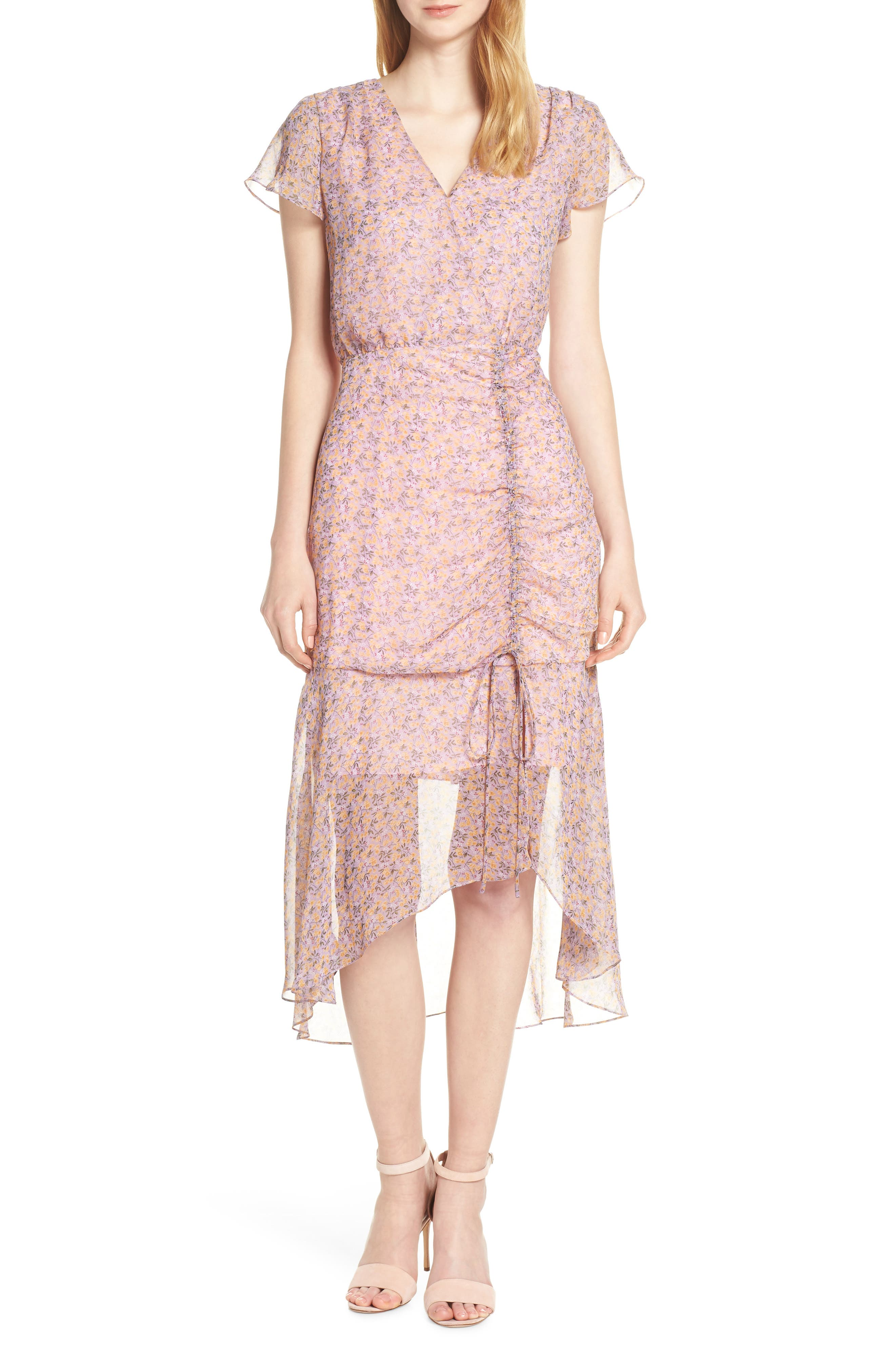 Sam Edelman Ruched Chiffon Midi Dress, Pink