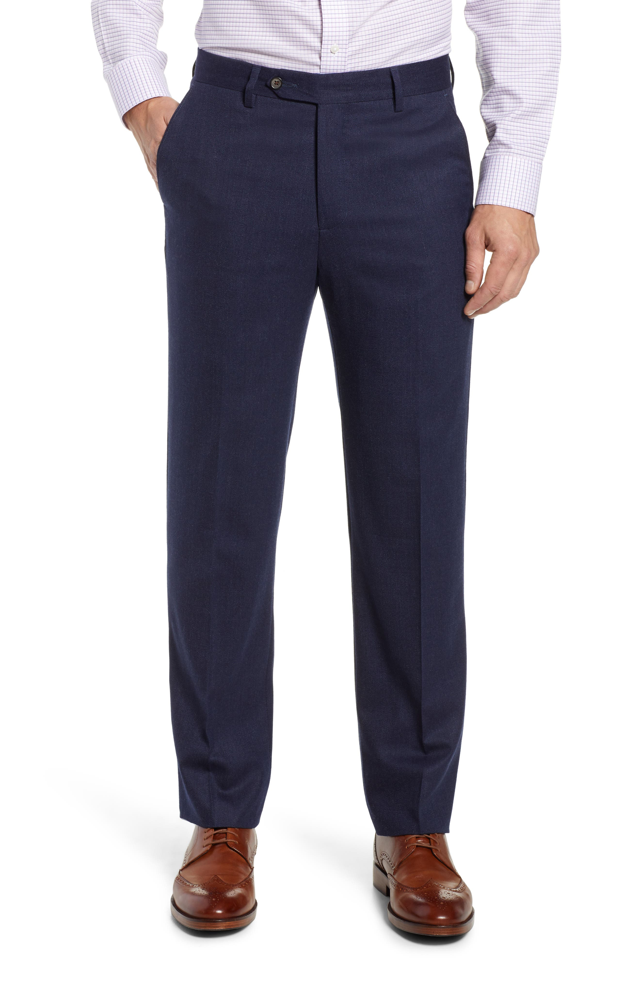 Flat Front Stretch Solid Wool & Cotton Trousers,                         Main,                         color, BLUE